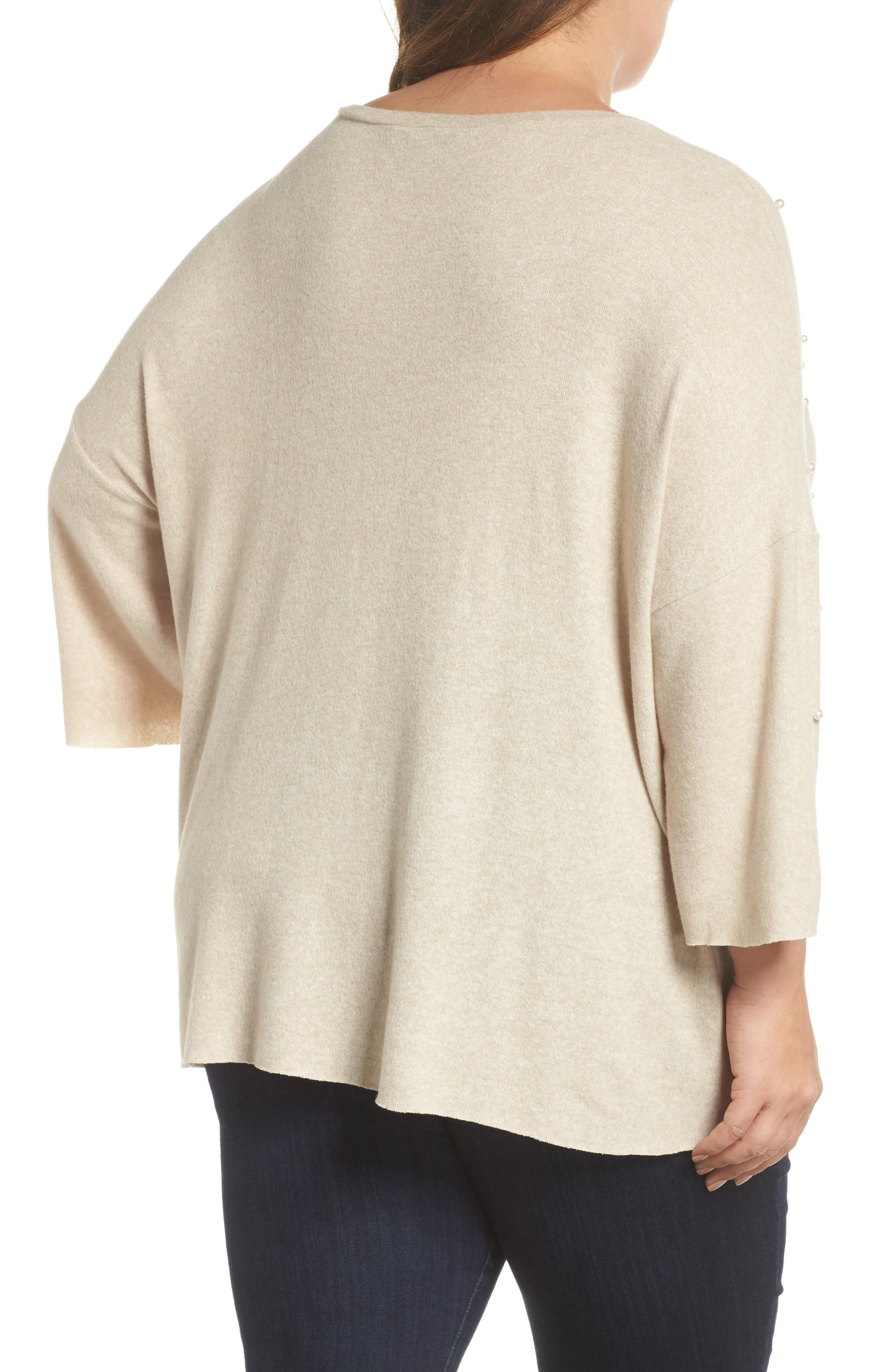 Pearl Embellished Sweater,                             Alternate thumbnail 2, color,                             Oatmeal