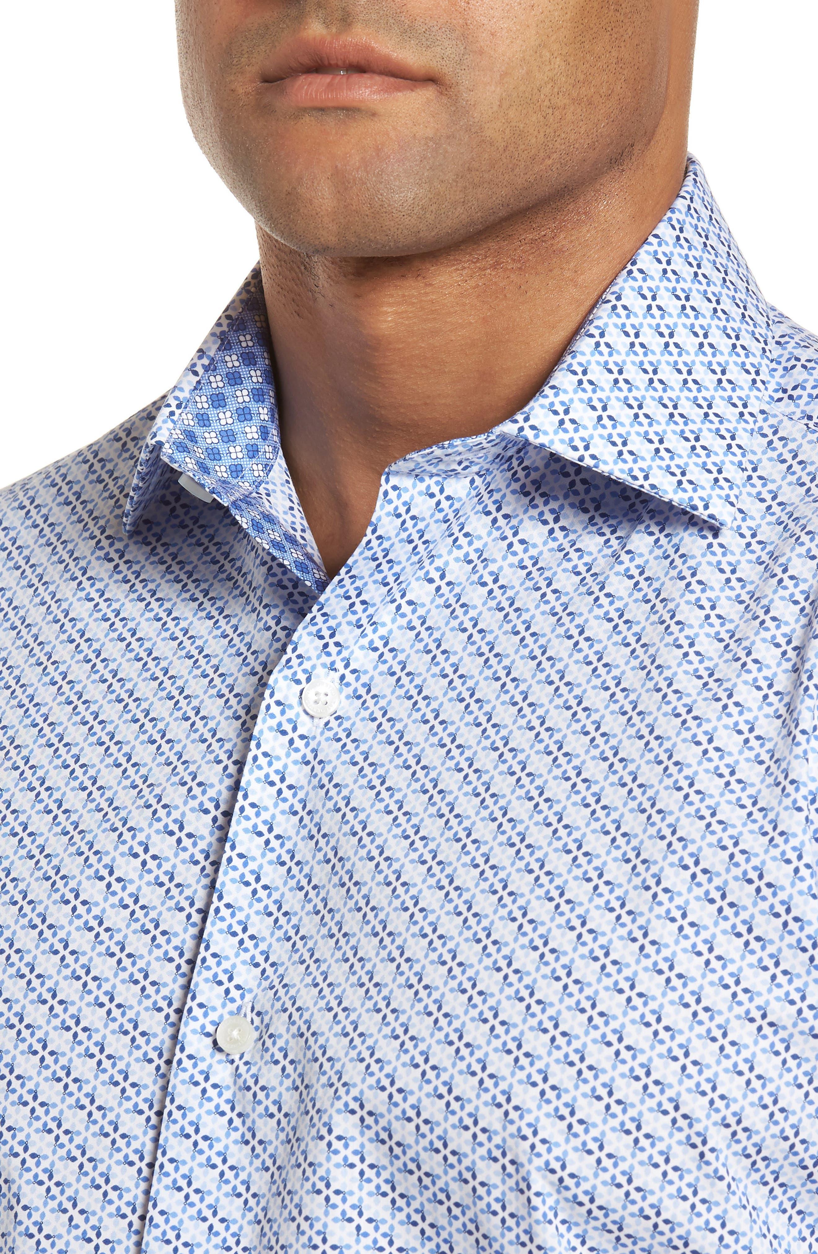 Shiloh Regular Fit Print Sport Shirt,                             Alternate thumbnail 4, color,                             Light Blue
