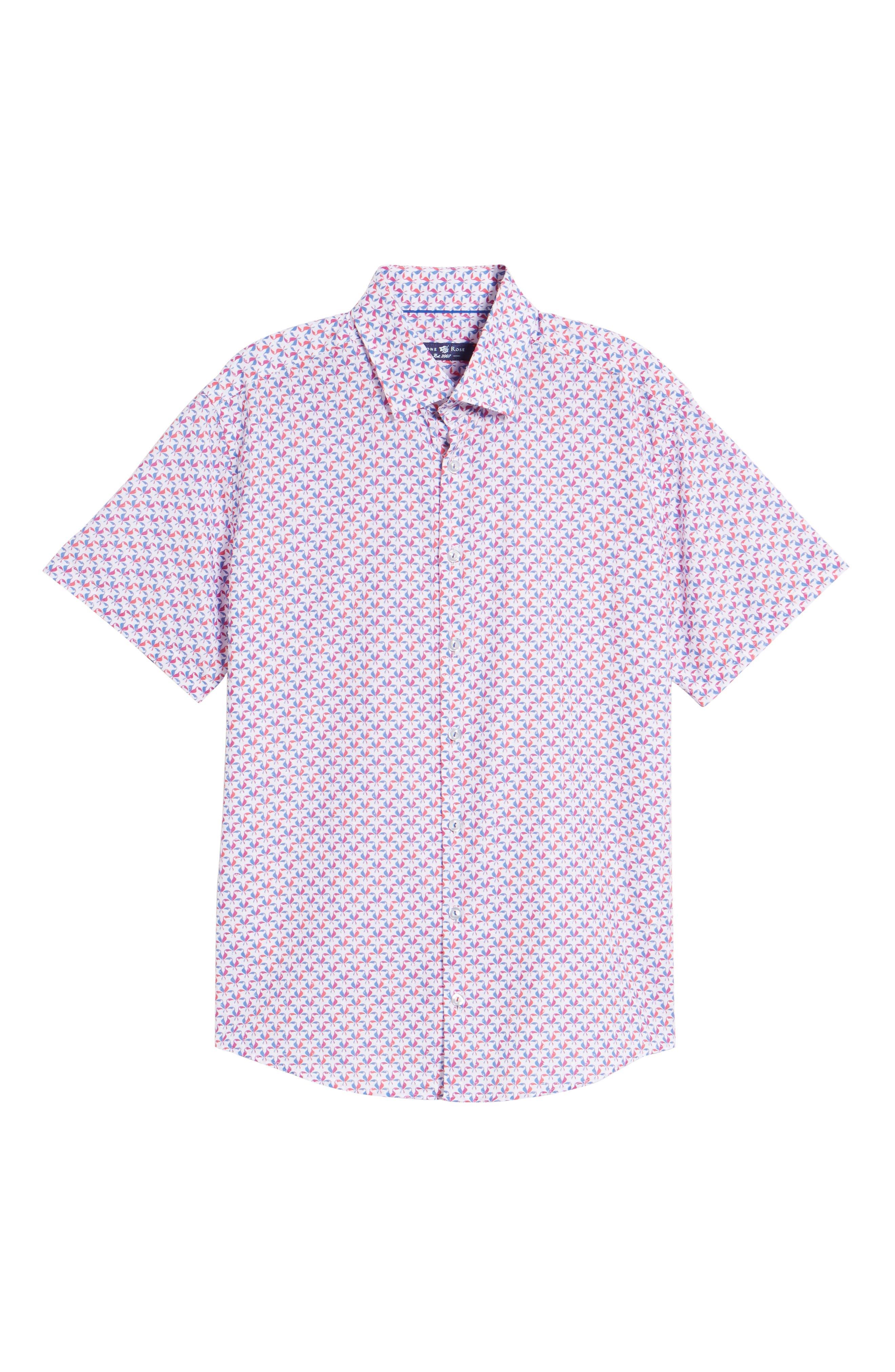 Contemporary Fit Toucan Print Sport Shirt,                             Alternate thumbnail 6, color,                             Berry
