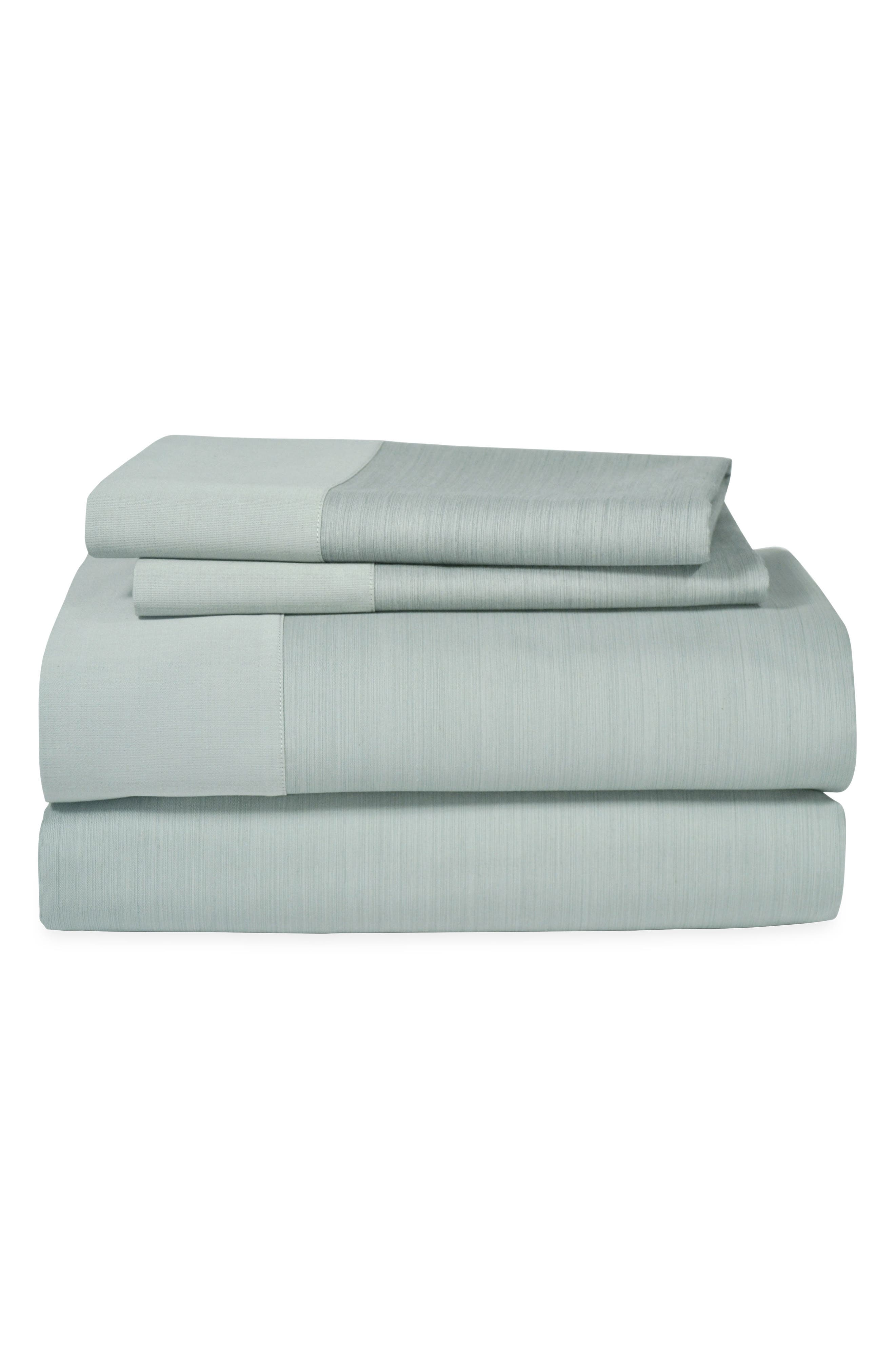 Striated Band 400 Thread Count Flat Sheet,                             Main thumbnail 1, color,                             Seafoam