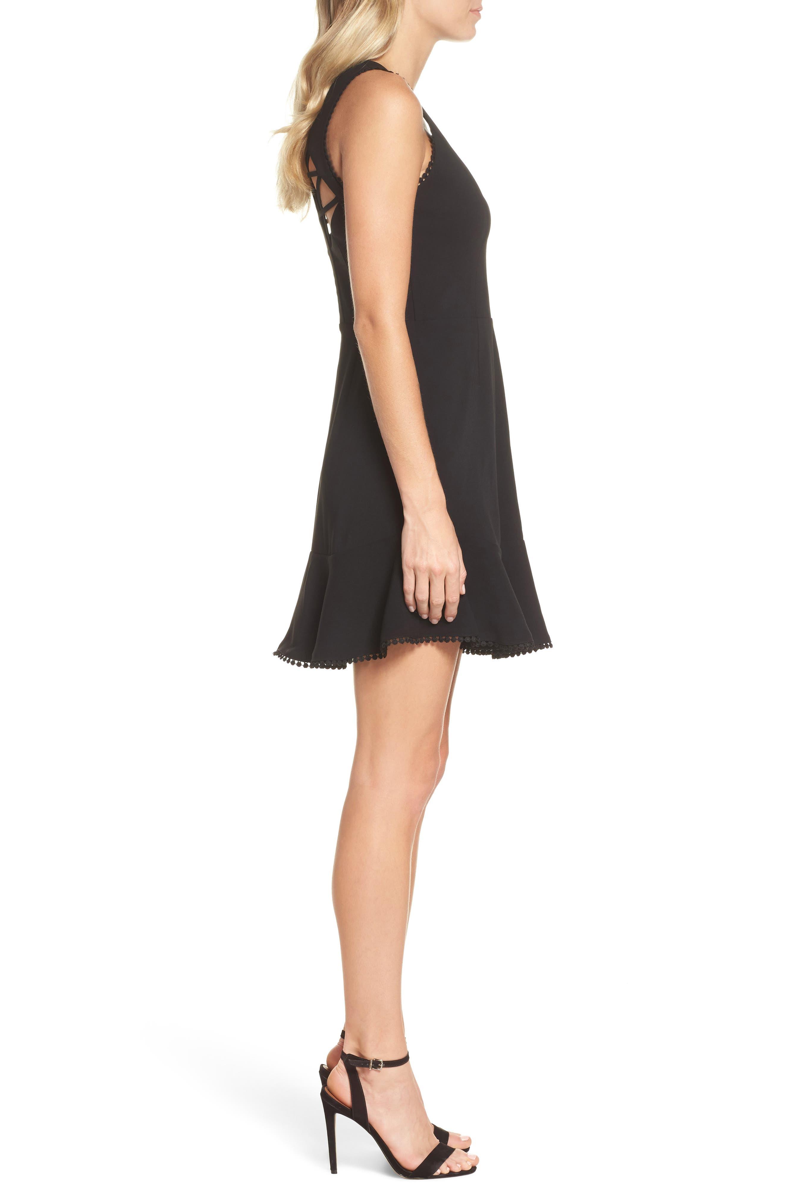 Zahara Cutout Fit & Flare Dress,                             Alternate thumbnail 3, color,                             Black