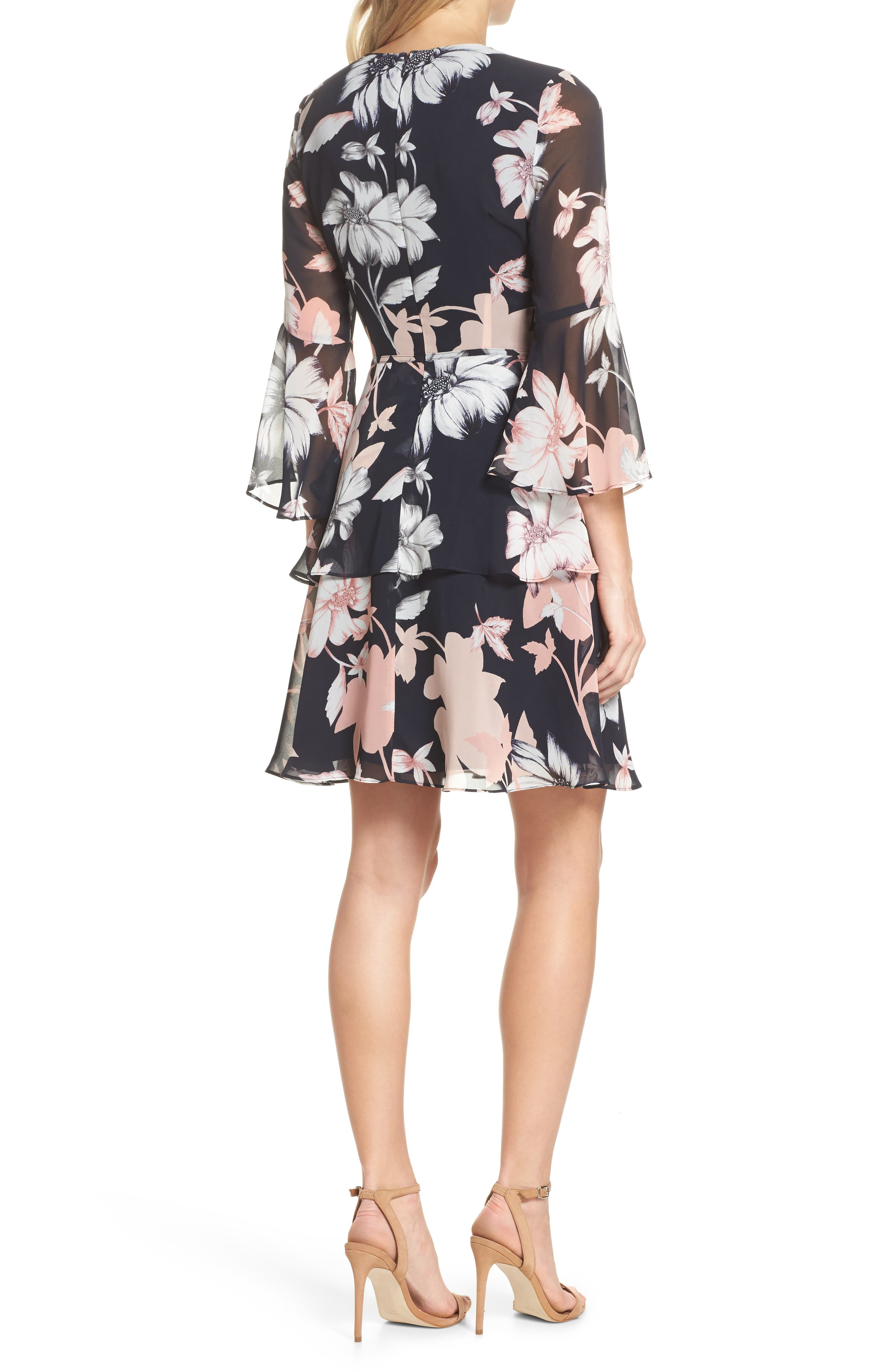 Floral Print Tiered Chiffon Dress,                             Alternate thumbnail 2, color,                             Navy Multi