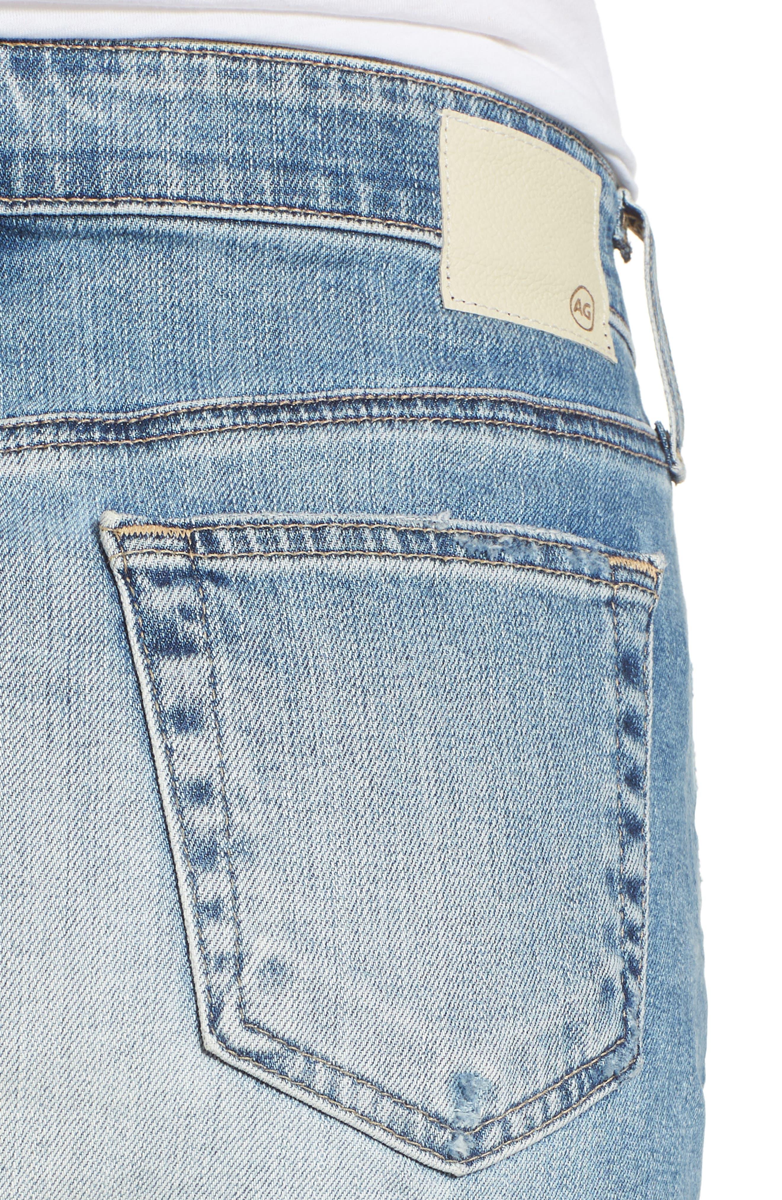 The Erin Distressed Denim Miniskirt,                             Alternate thumbnail 4, color,                             Indigo Deluge Destructed