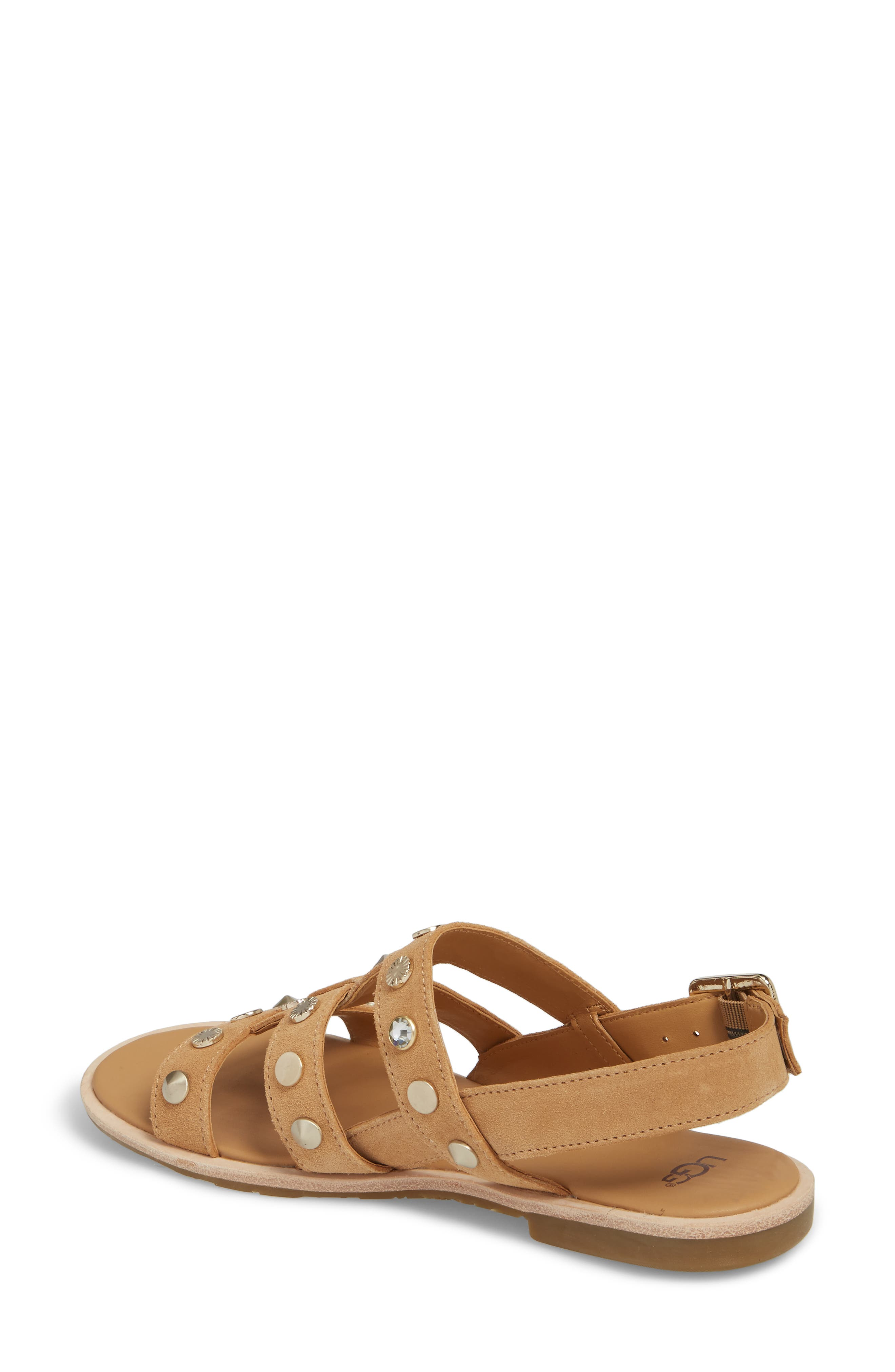 Zariah Studded Sandal,                             Alternate thumbnail 2, color,                             Latte Suede