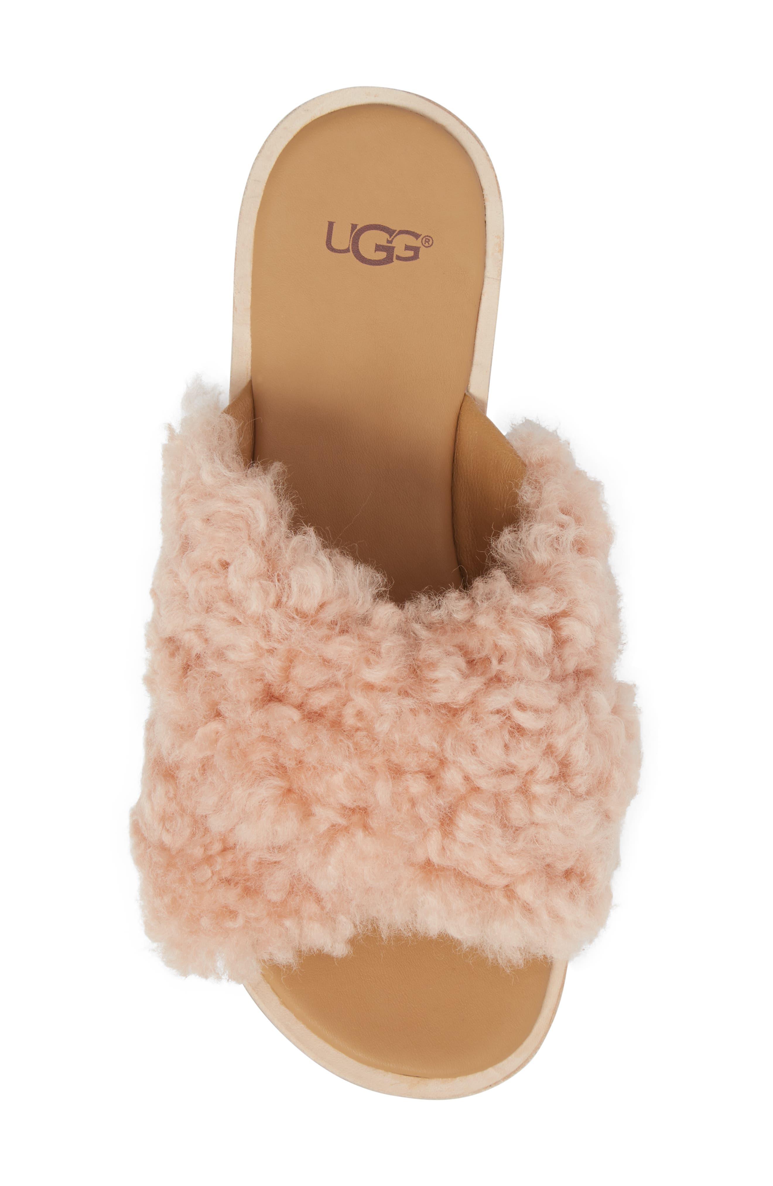 Joni Genuine Shearling Slide Sandal,                             Alternate thumbnail 5, color,                             Suntan