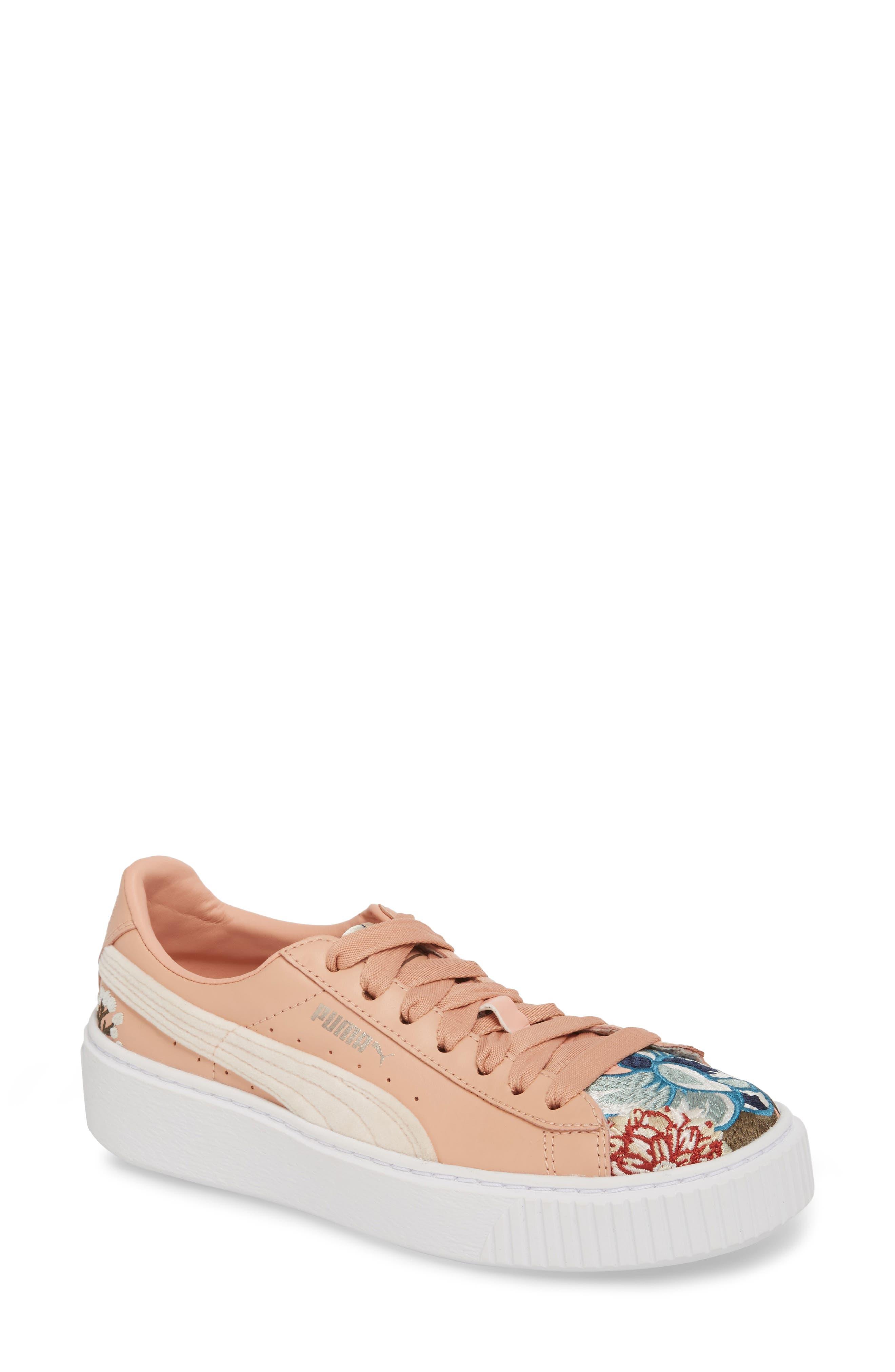 Platform Hyper Embroidered Sneaker,                         Main,                         color, Peach Beige