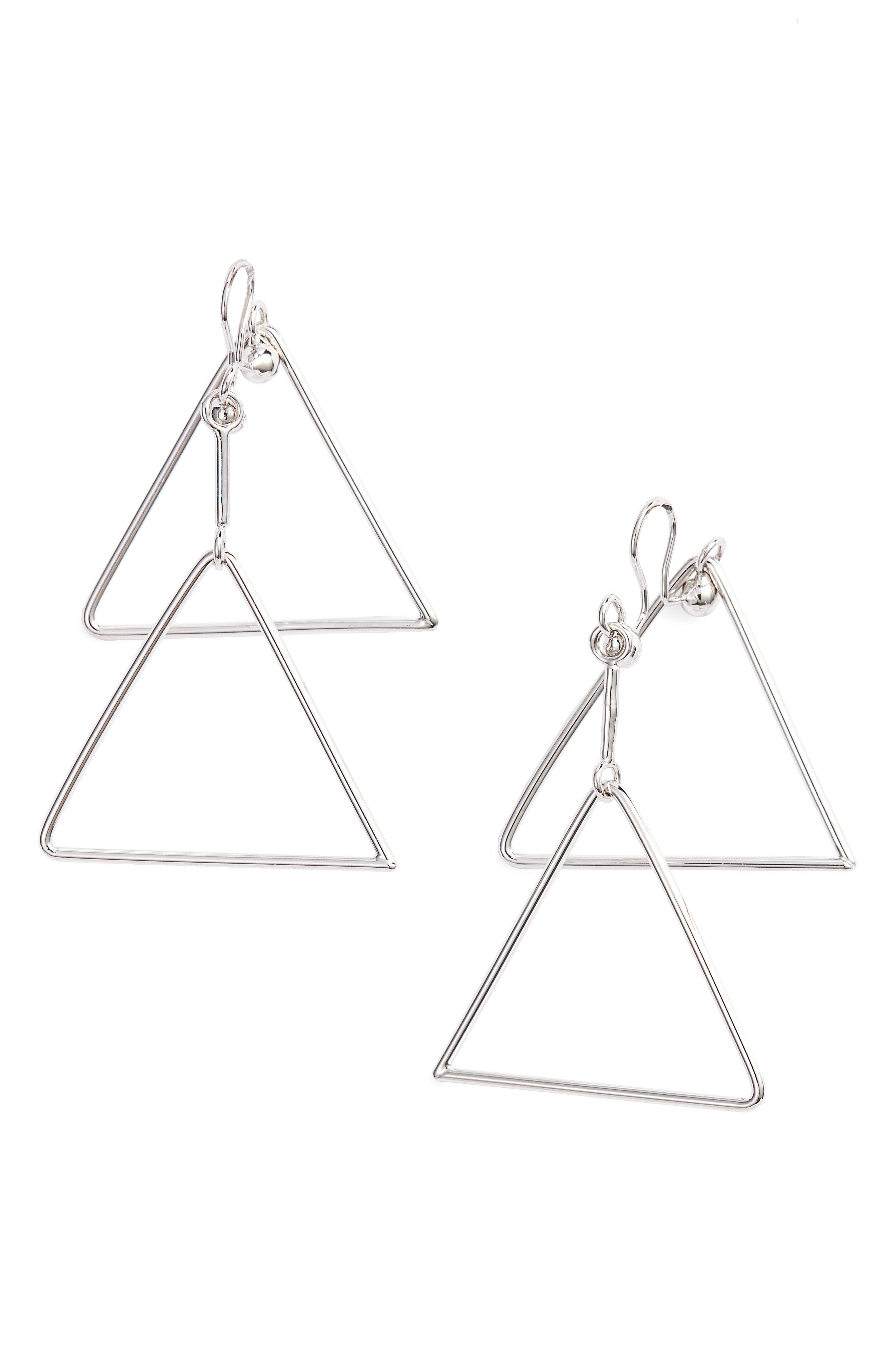 Triangle Clip Earrings,                         Main,                         color, Silver