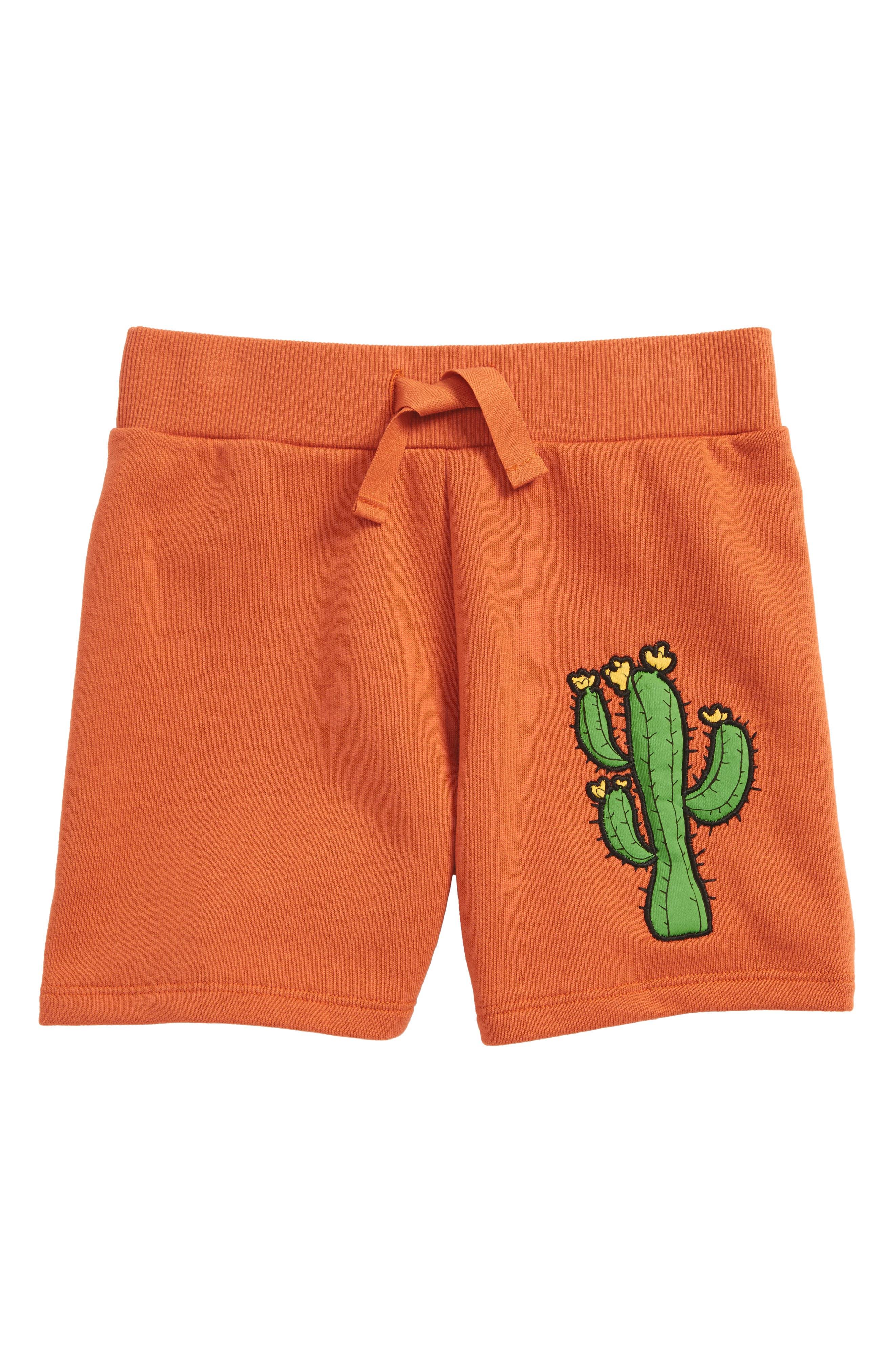 Donkey & Cactus Appliqué Organic Cotton Shorts,                             Main thumbnail 1, color,                             Orange