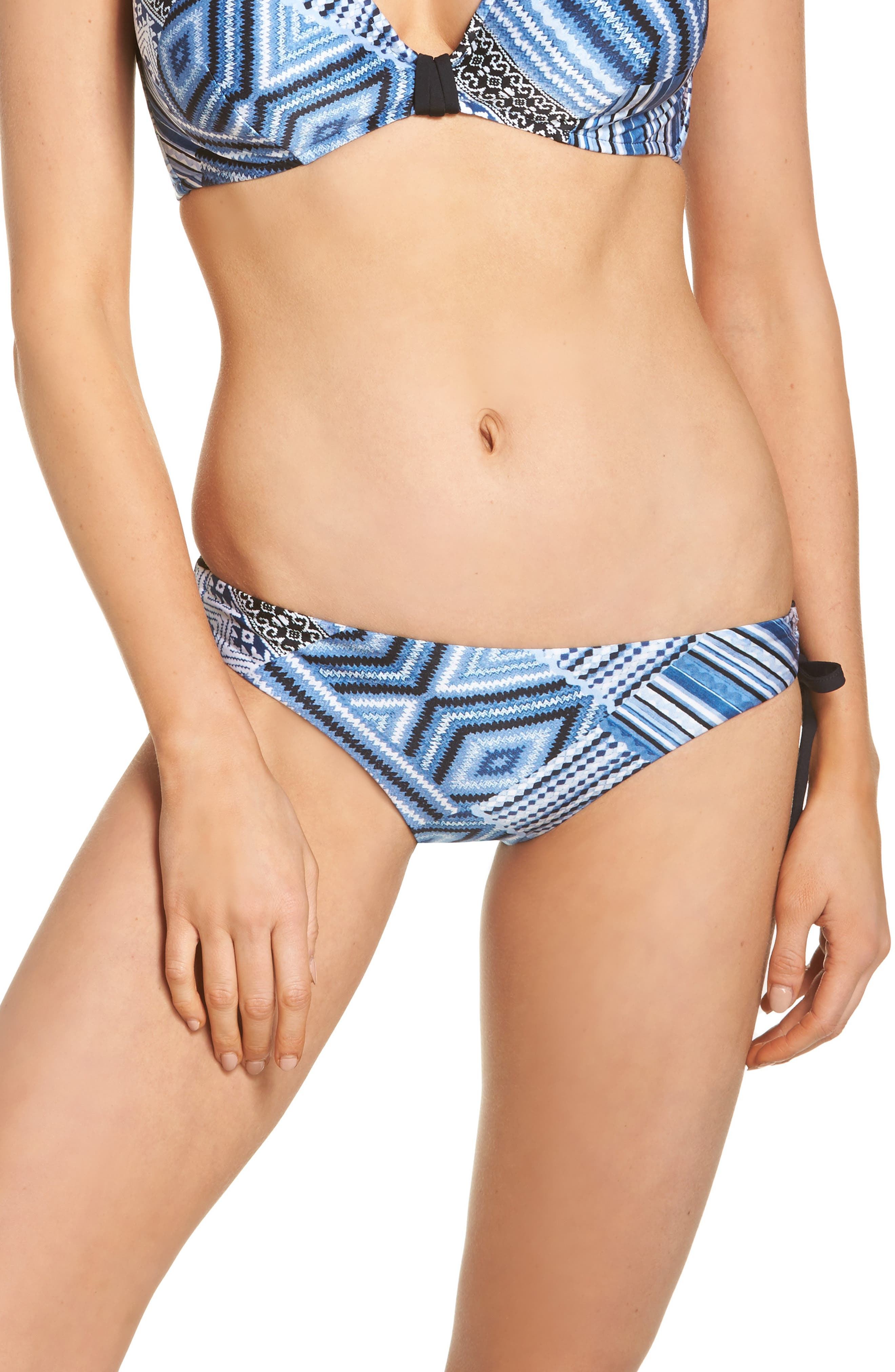 Desert Tribe Side Tie Hipster Bikini Bottoms,                         Main,                         color, Bluestone