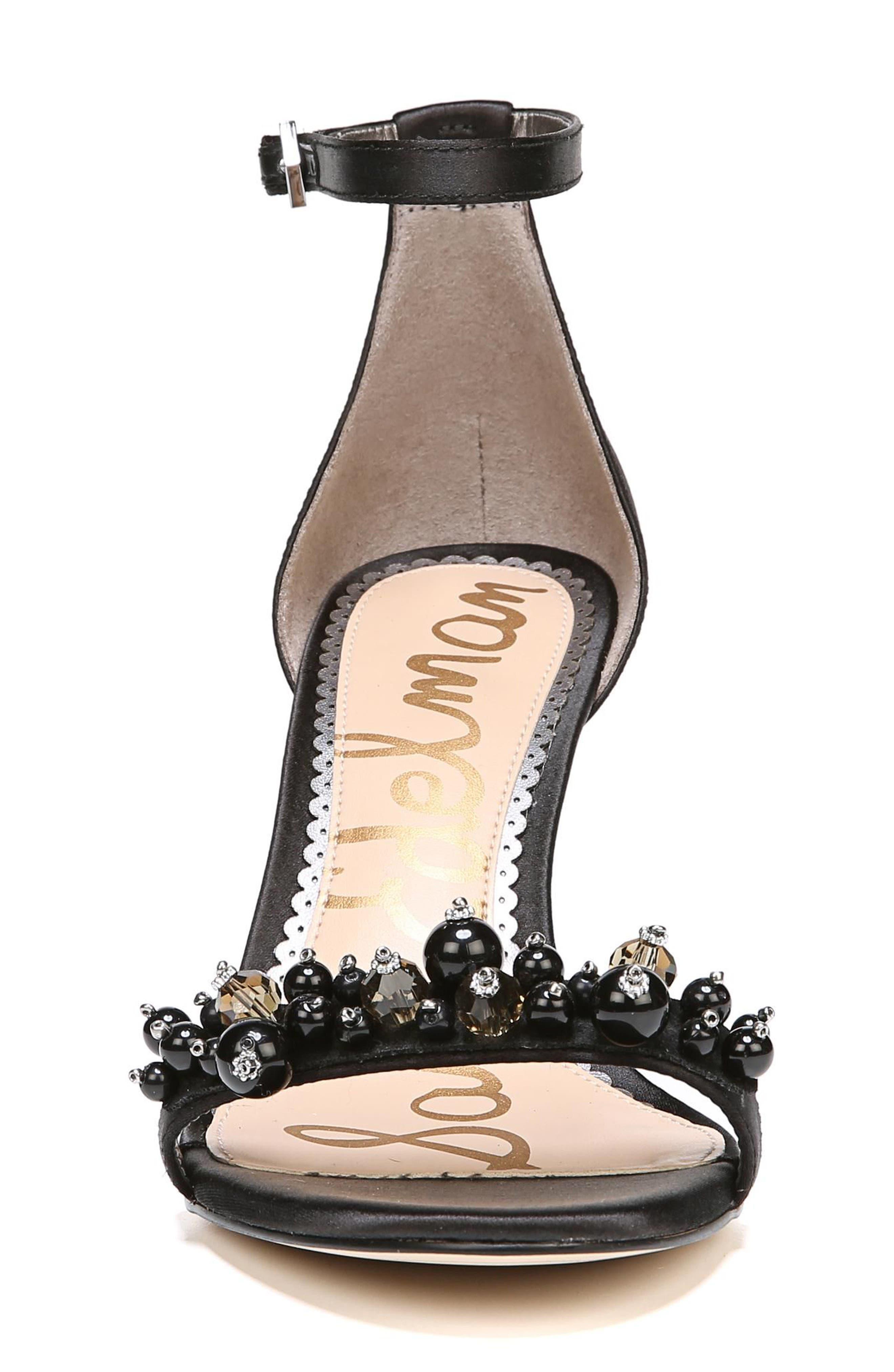 Platt Embellished Sandal,                             Alternate thumbnail 4, color,                             Black Satin