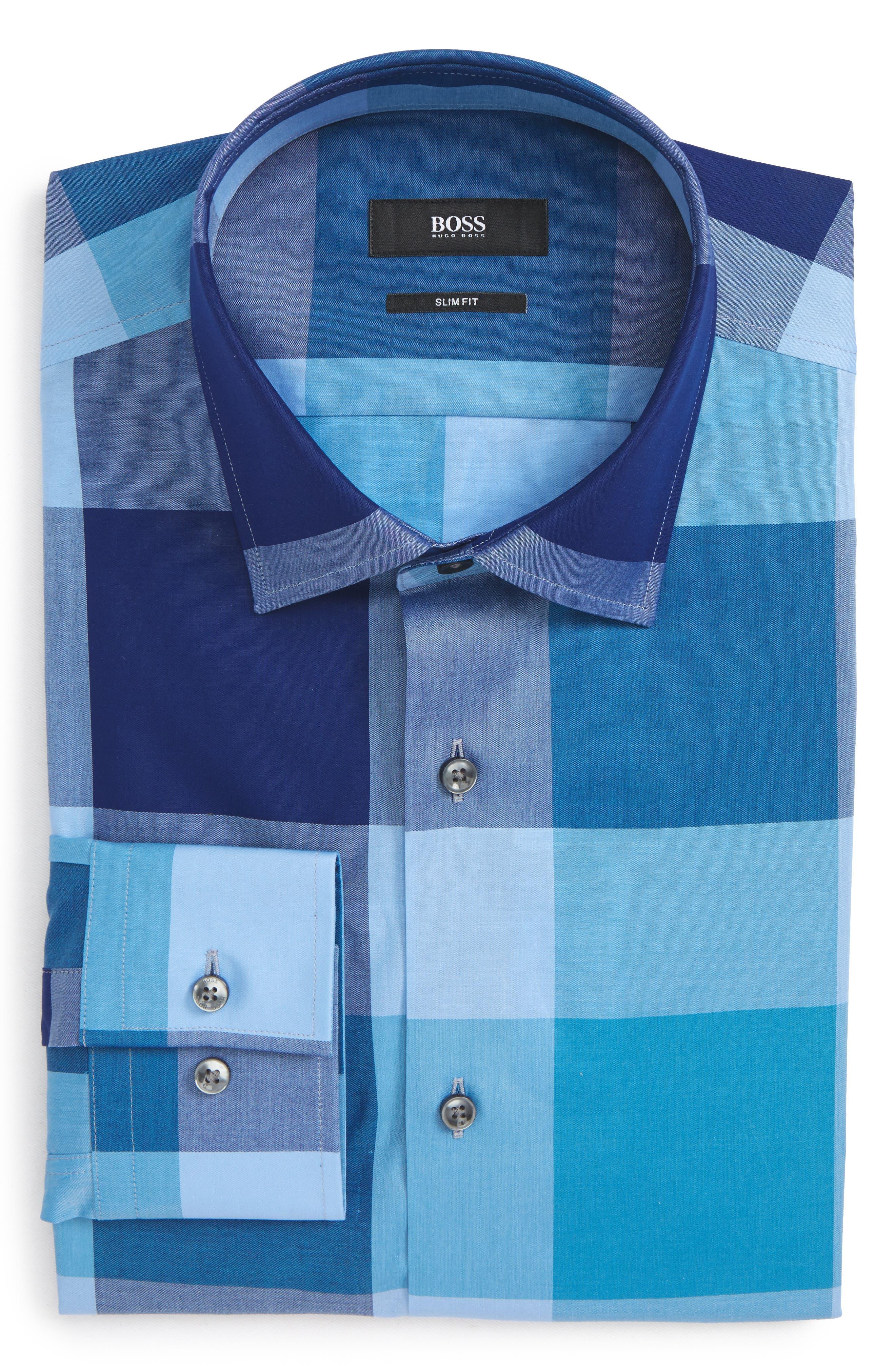 Jenno Slim Fit Check Dress Shirt,                             Alternate thumbnail 6, color,                             Blue