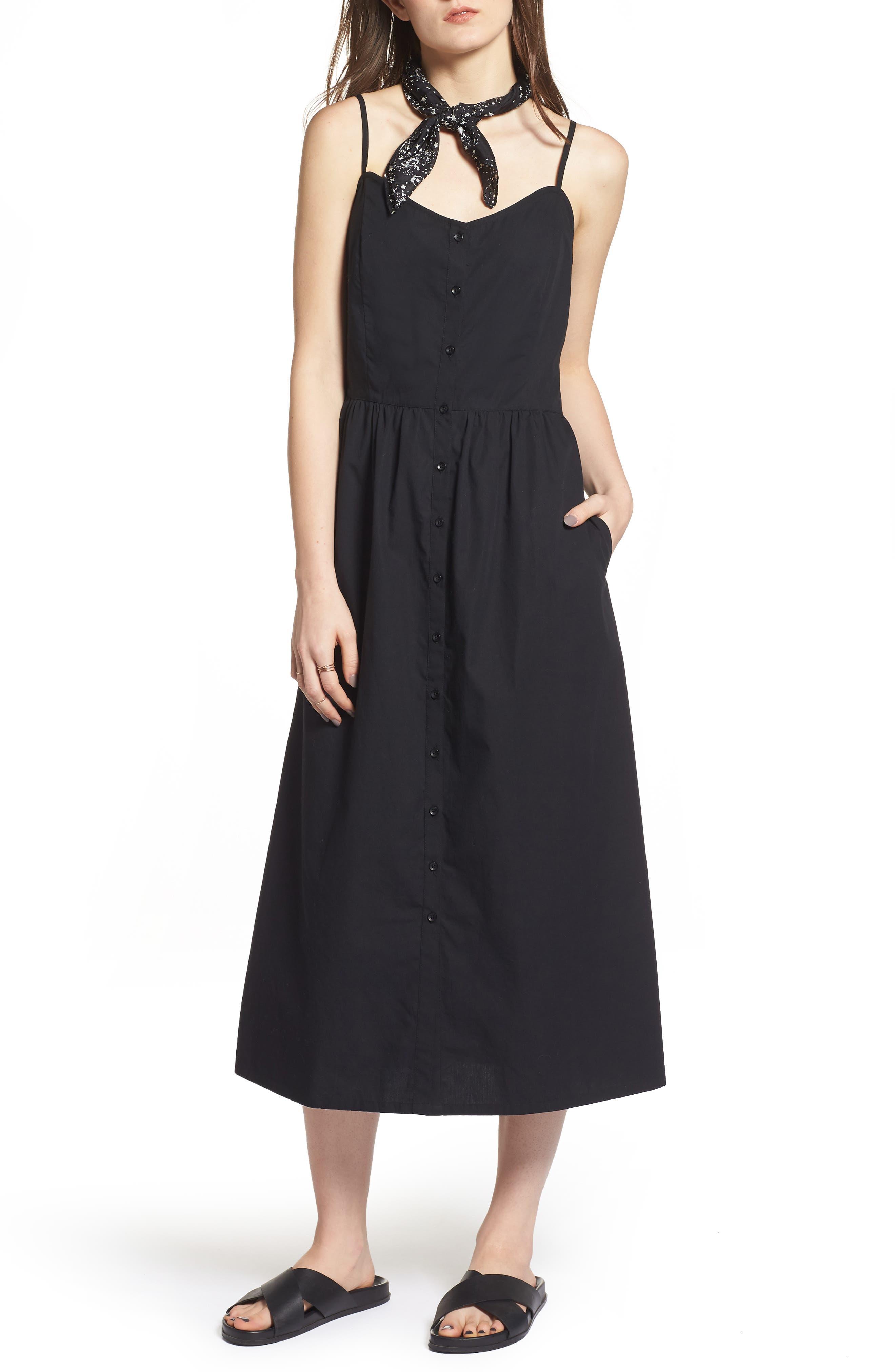 Button Front Midi Dress,                             Main thumbnail 1, color,                             Black