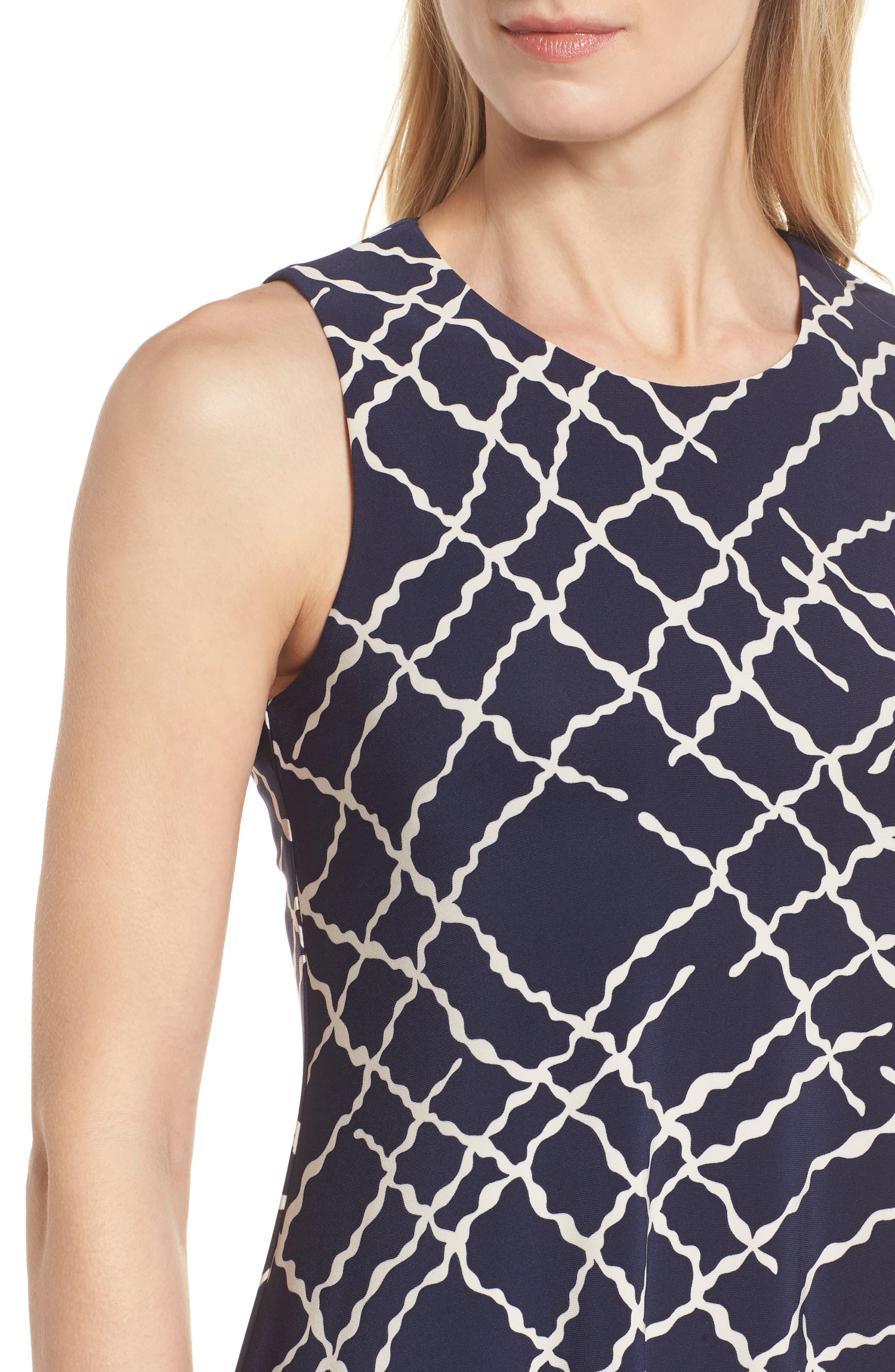 Print Swing Dress,                             Alternate thumbnail 4, color,                             Breton Blue/ Parchment