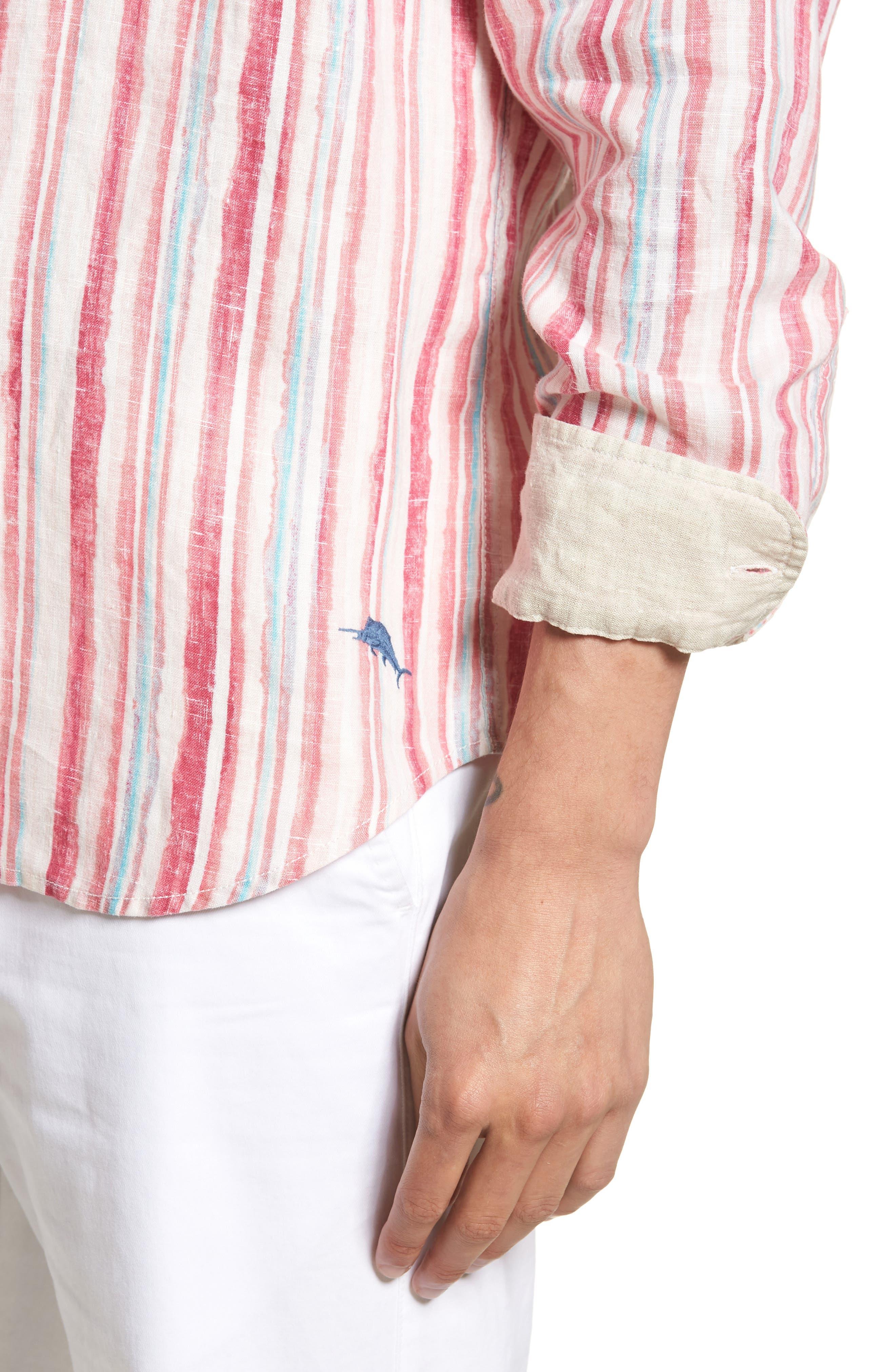Alternate Image 4  - Tommy Bahama Watercrest Stripe Linen Sport Shirt