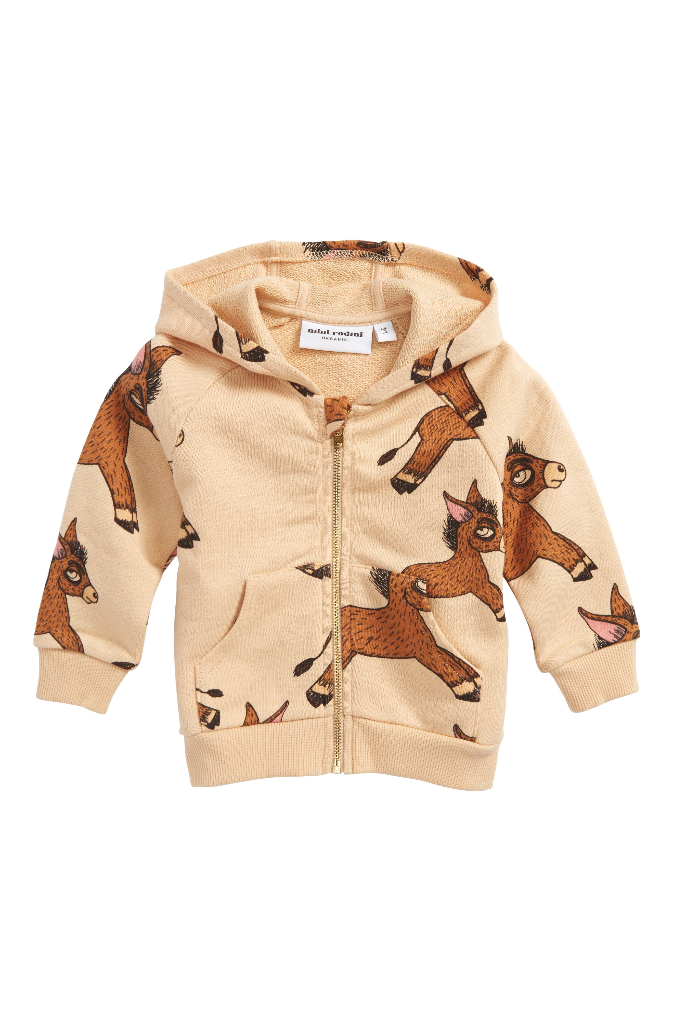 Donkey Print Organic Cotton Zip Hoodie,                             Main thumbnail 1, color,                             Beige
