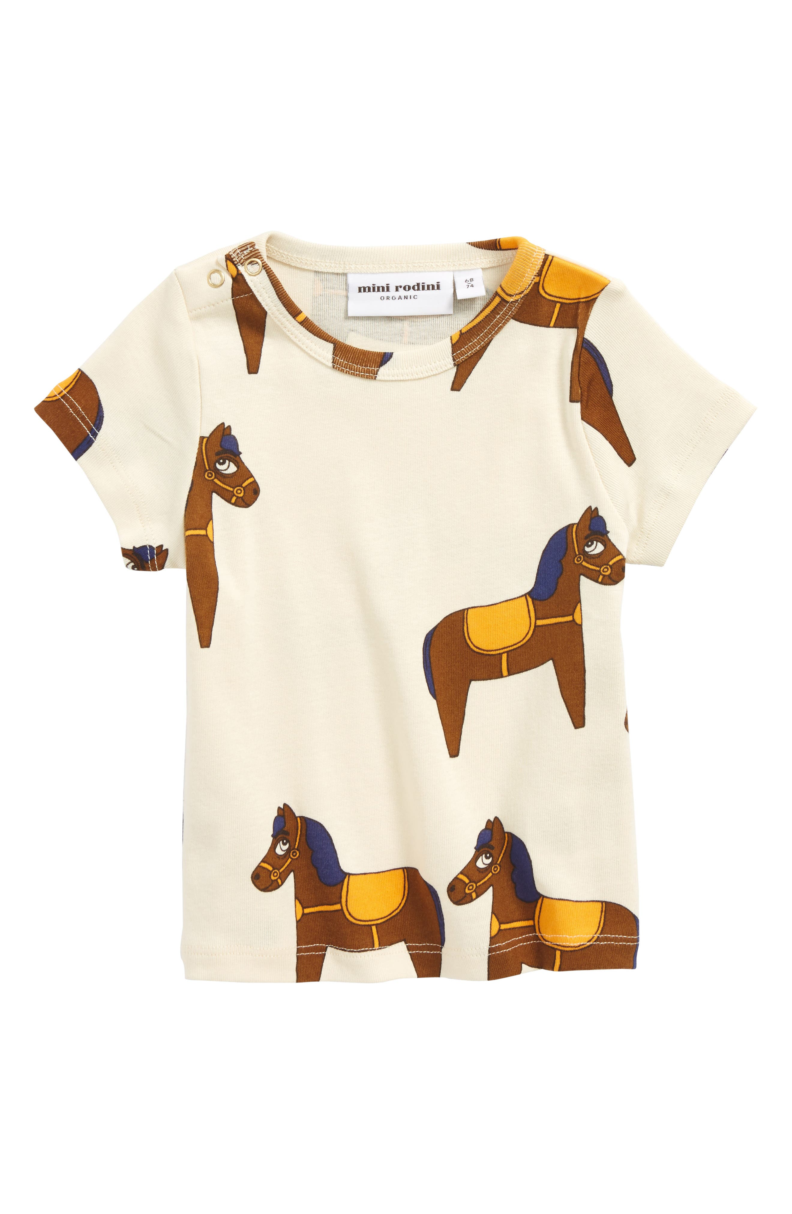 Horse Organic Cotton T-Shirt,                         Main,                         color, Yellow
