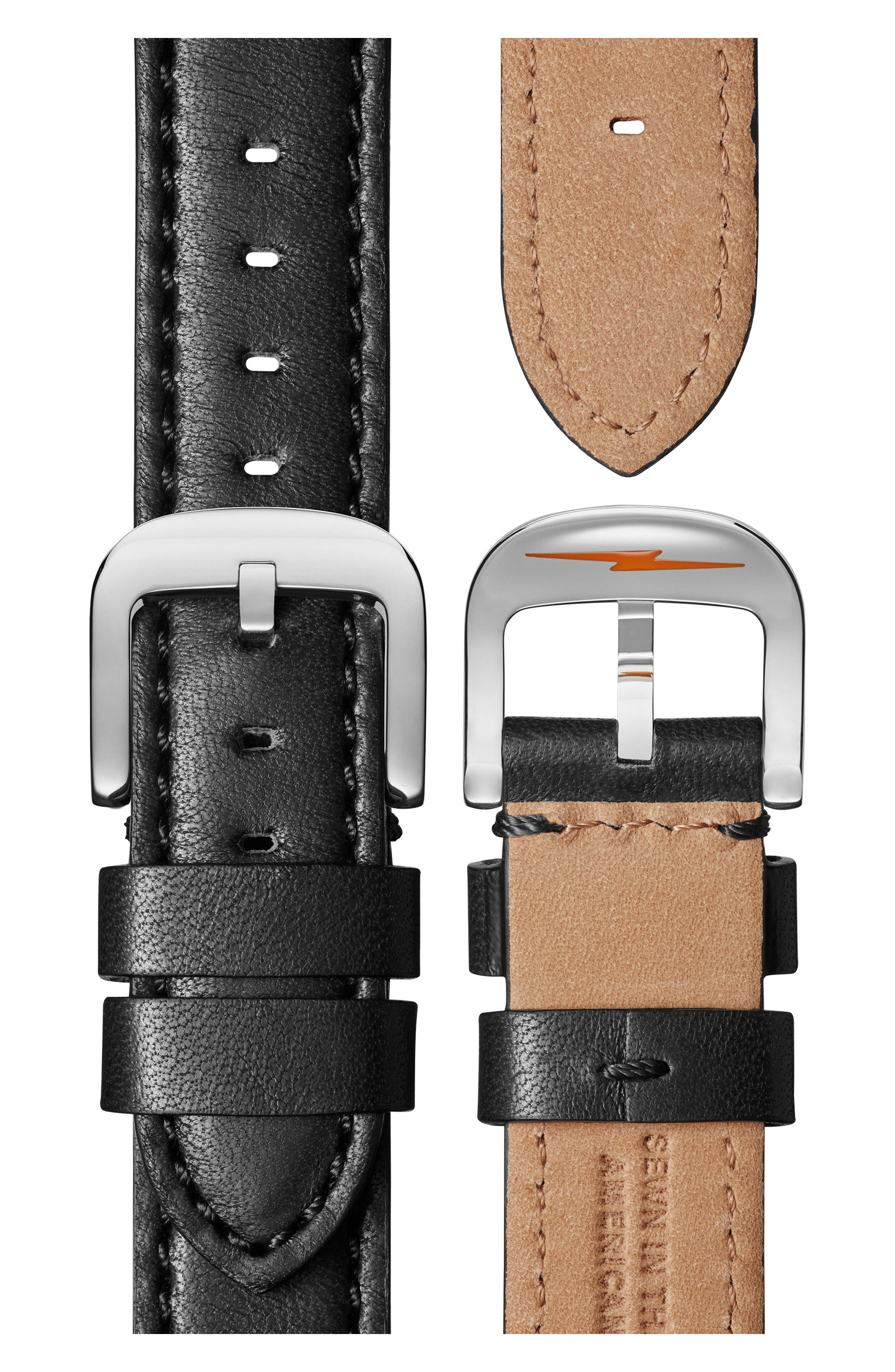 The Bedrock Chronograph Leather Strap Watch, 42mm,                             Alternate thumbnail 2, color,                             Black/ Silver