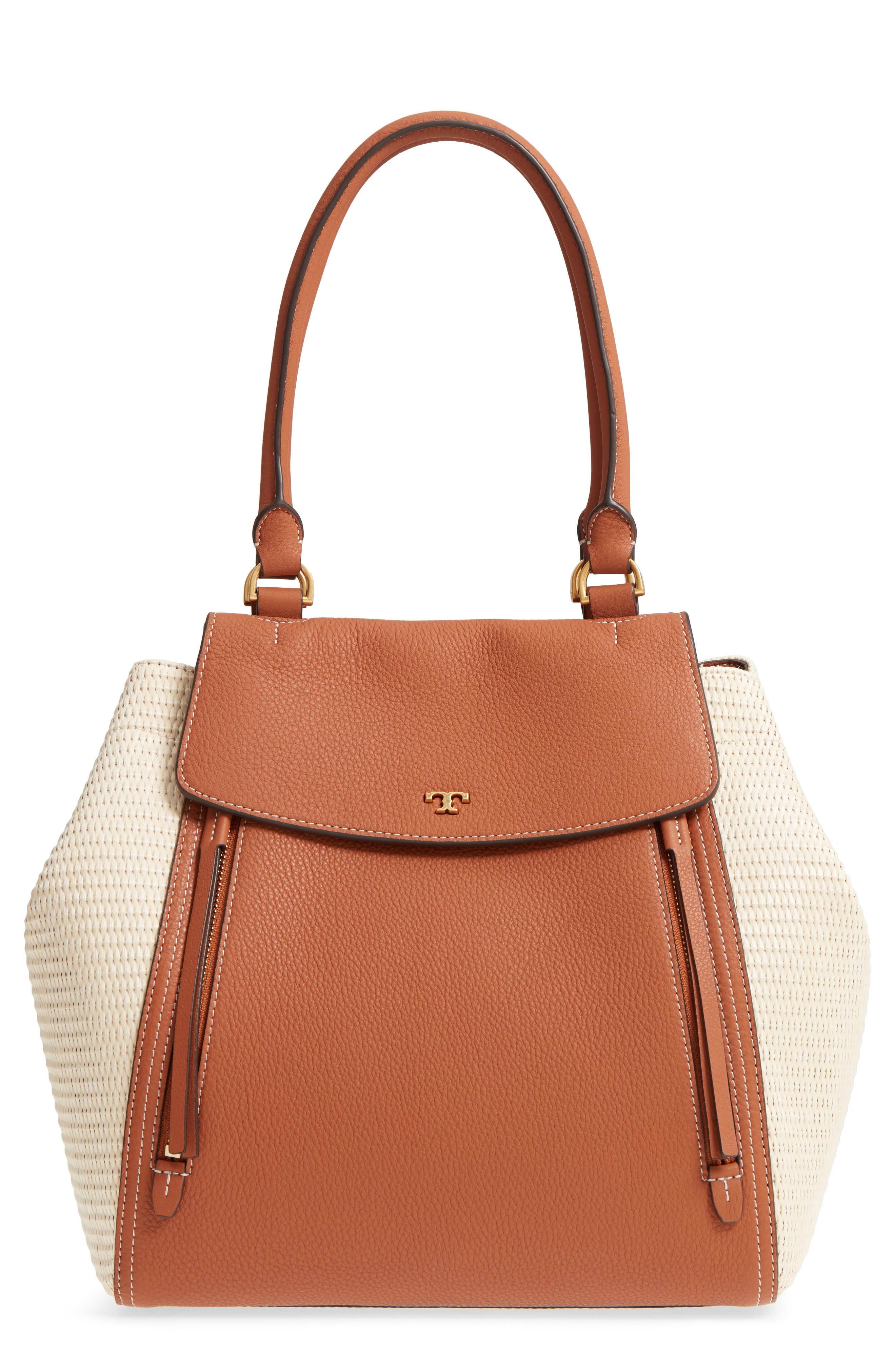 Half-Moon Straw & Leather Tote,                             Main thumbnail 1, color,                             Natural / Classic Tan