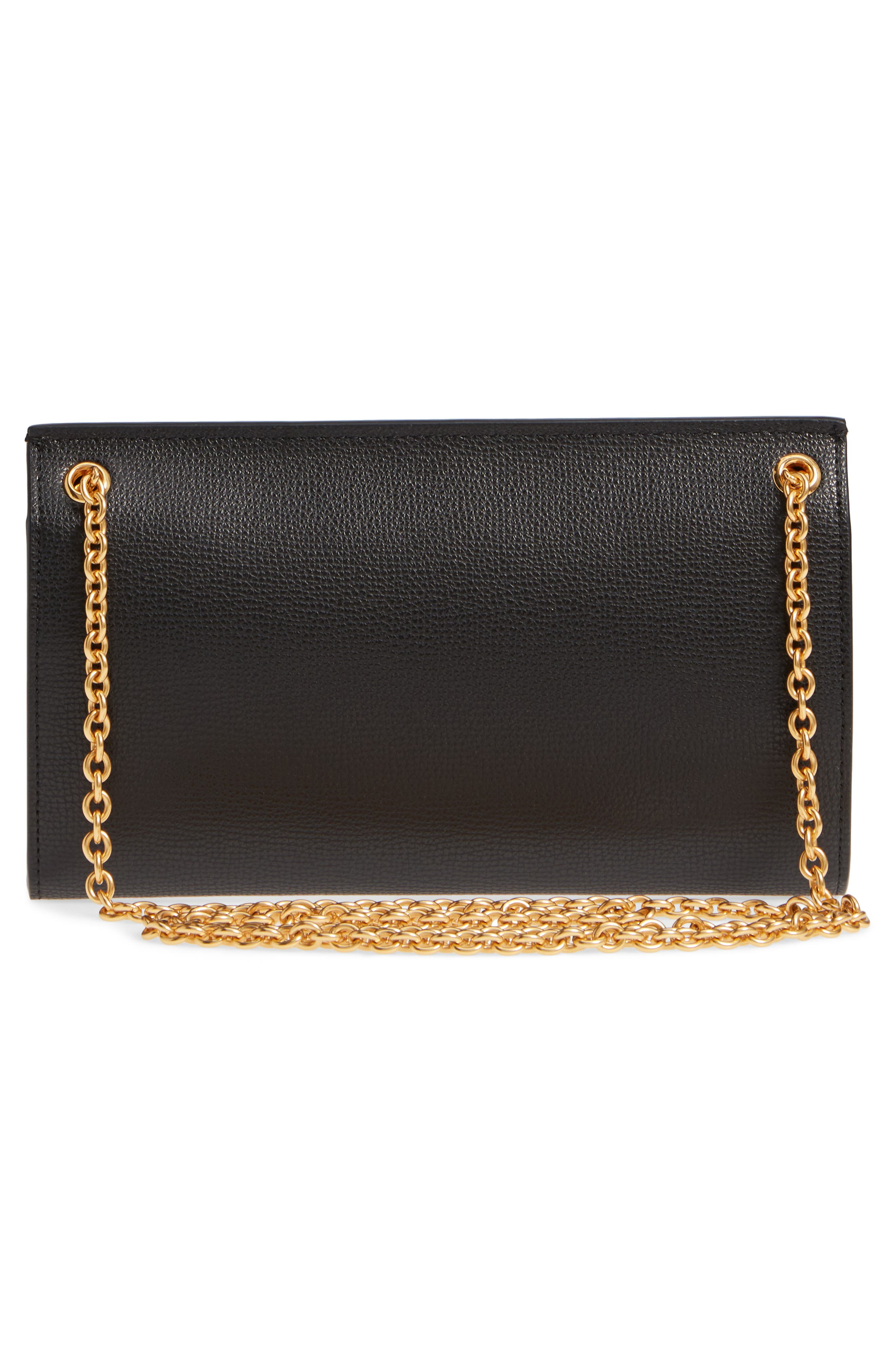 Amberley Calfskin Leather Clutch,                             Alternate thumbnail 3, color,                             Black