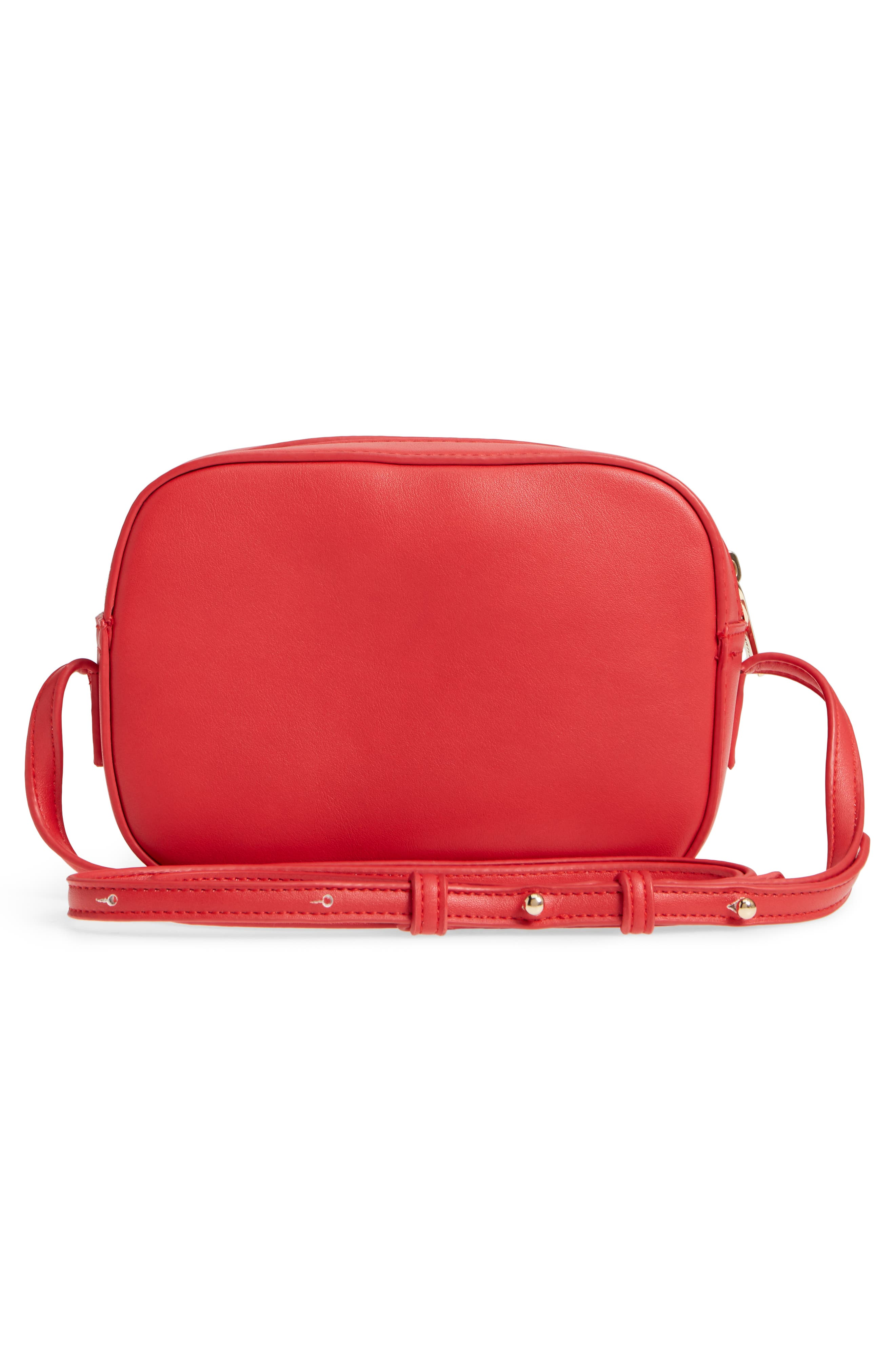 Faux Leather Box Bag,                             Alternate thumbnail 3, color,                             Red