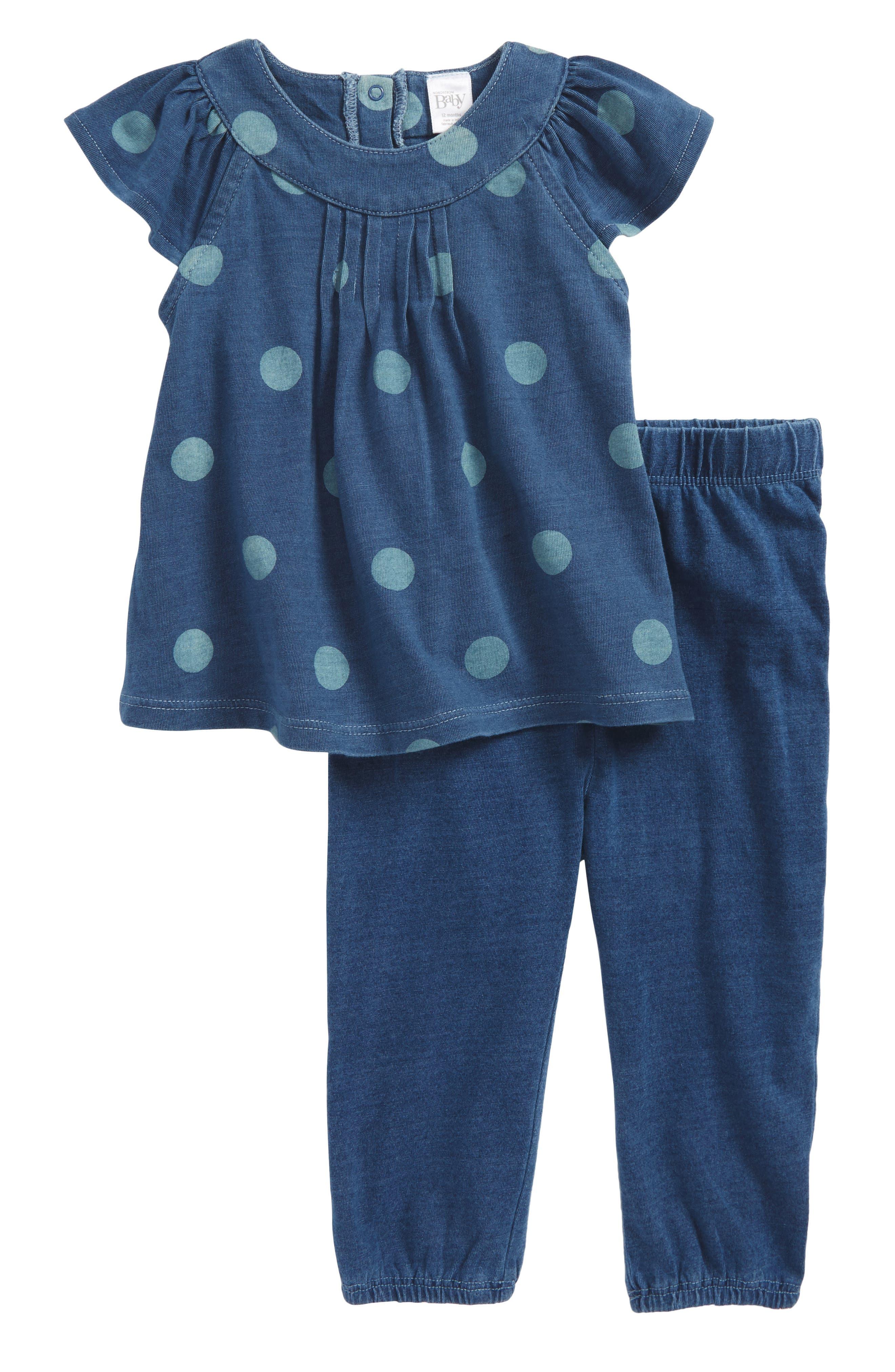 Tunic & Leggings Set,                         Main,                         color, Blue Indigo Dot
