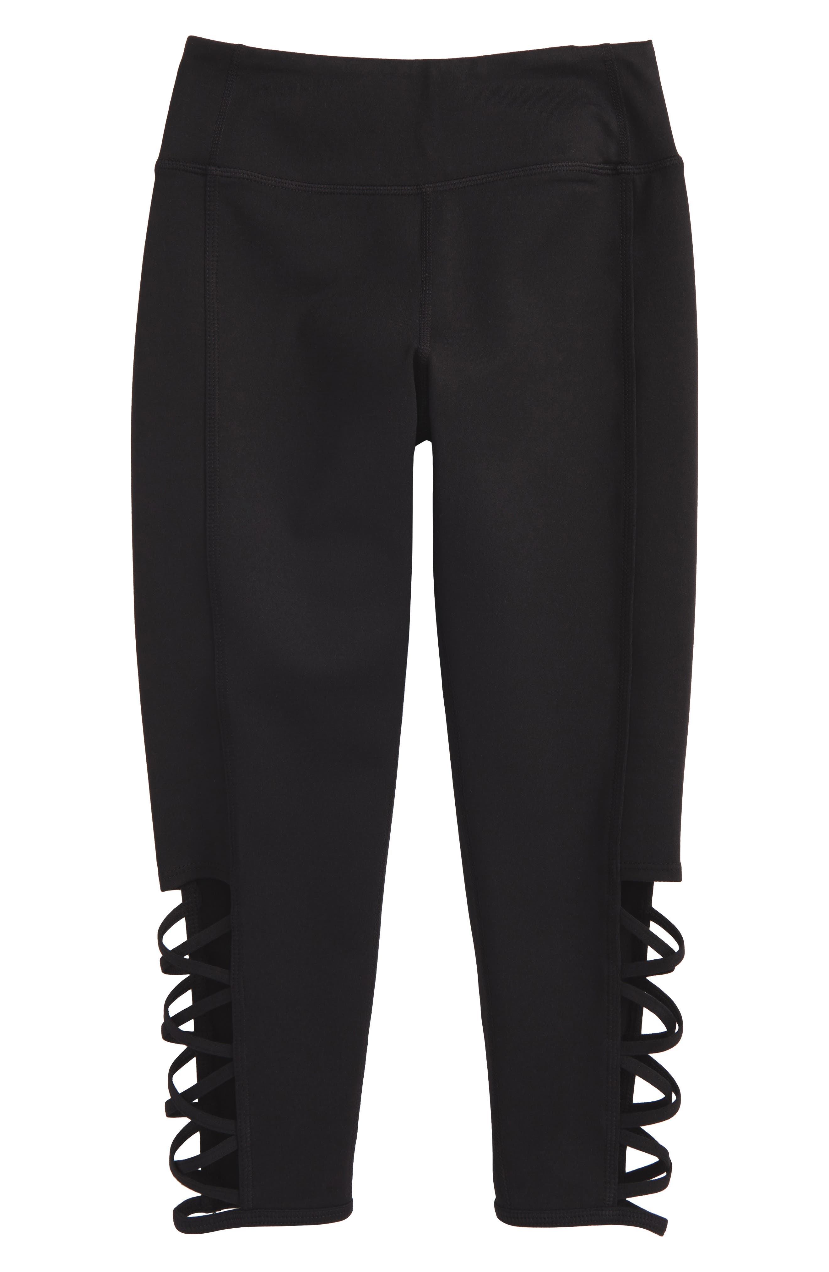 Strappy High Waist Leggings,                             Main thumbnail 1, color,                             Black