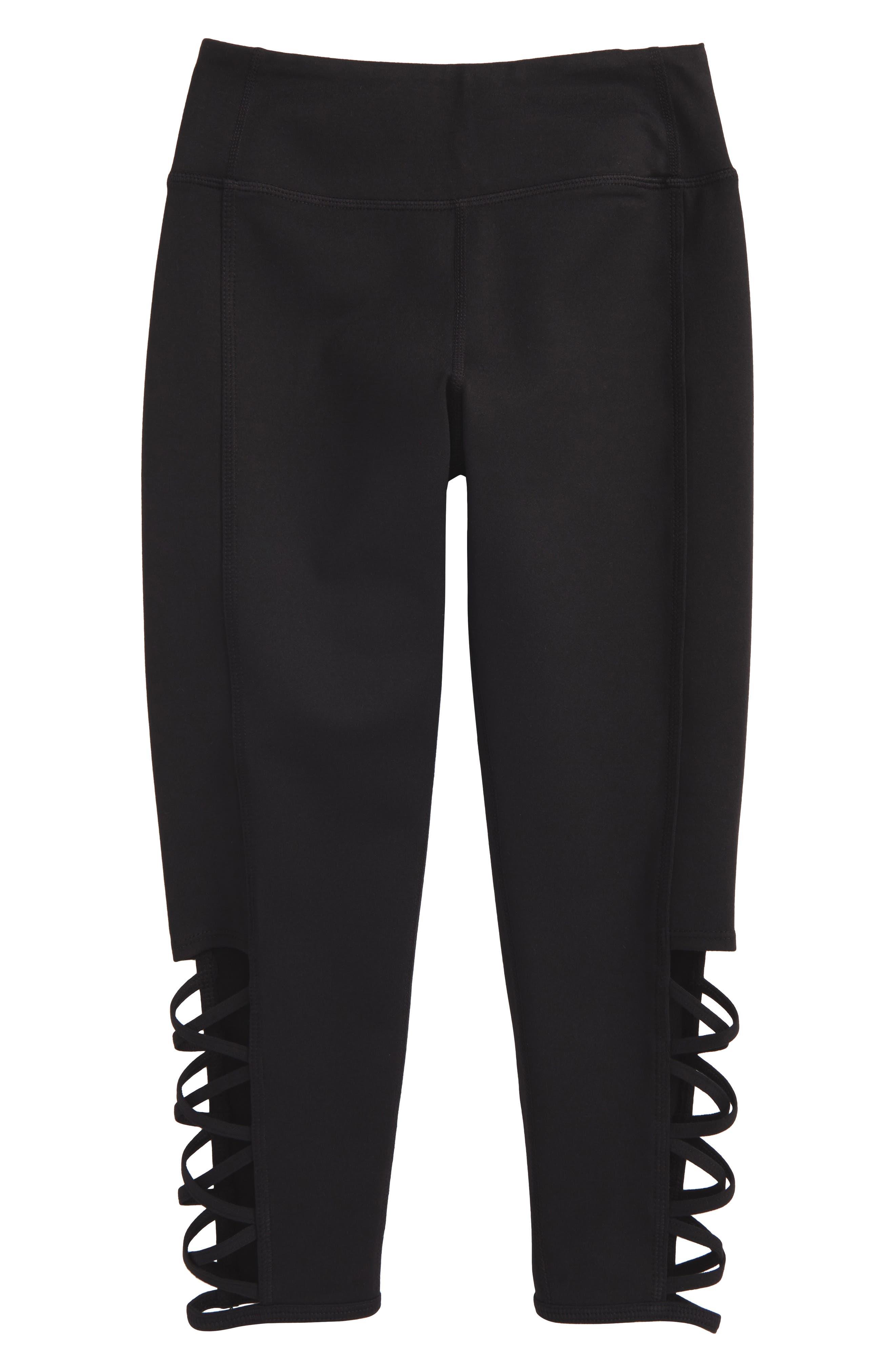 Strappy High Waist Leggings,                         Main,                         color, Black
