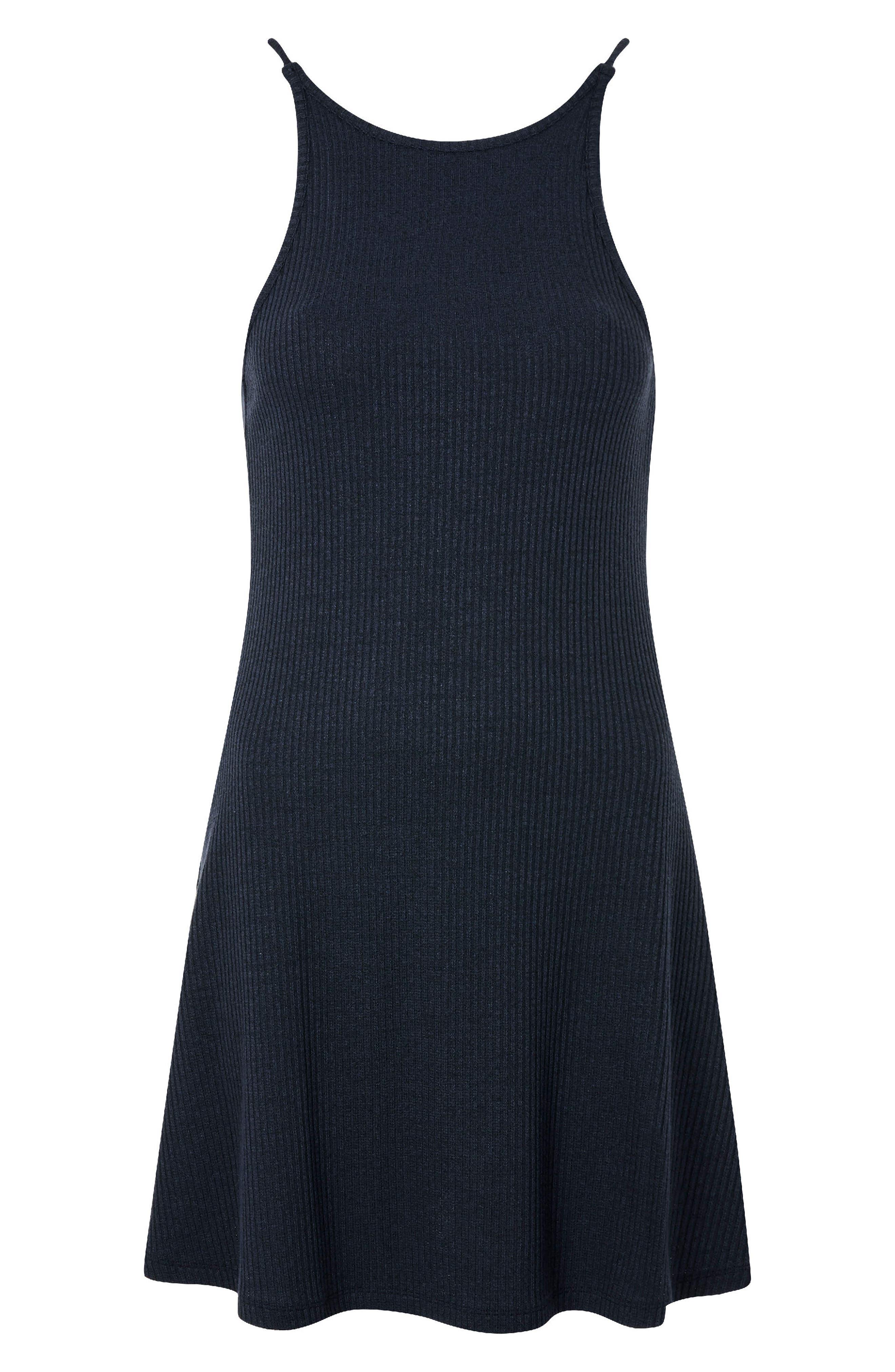 Scoop Back Ribbed Minidress,                             Alternate thumbnail 4, color,                             Navy Blue