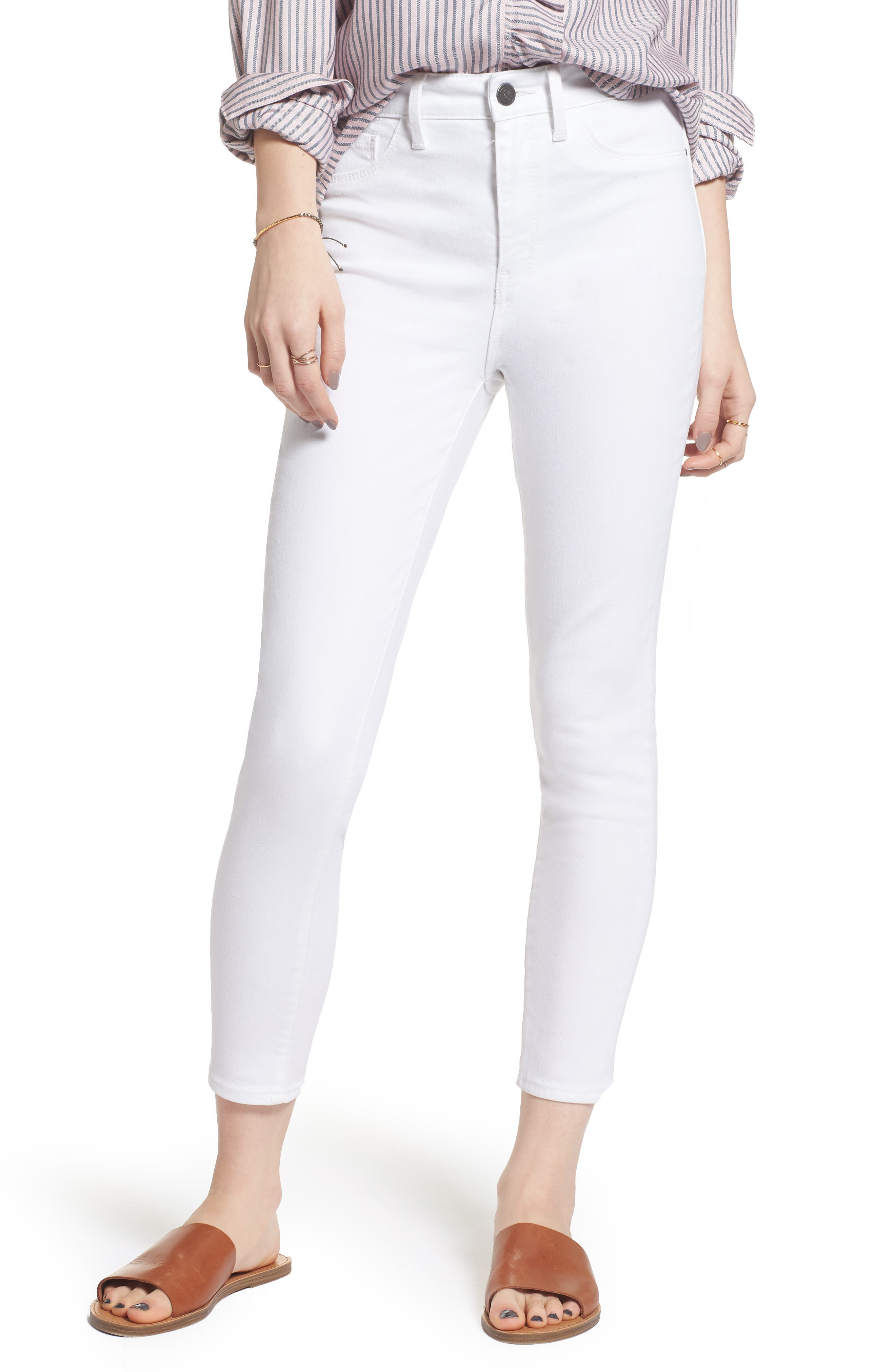 Charity High Waist Crop Skinny Jeans,                         Main,                         color, White