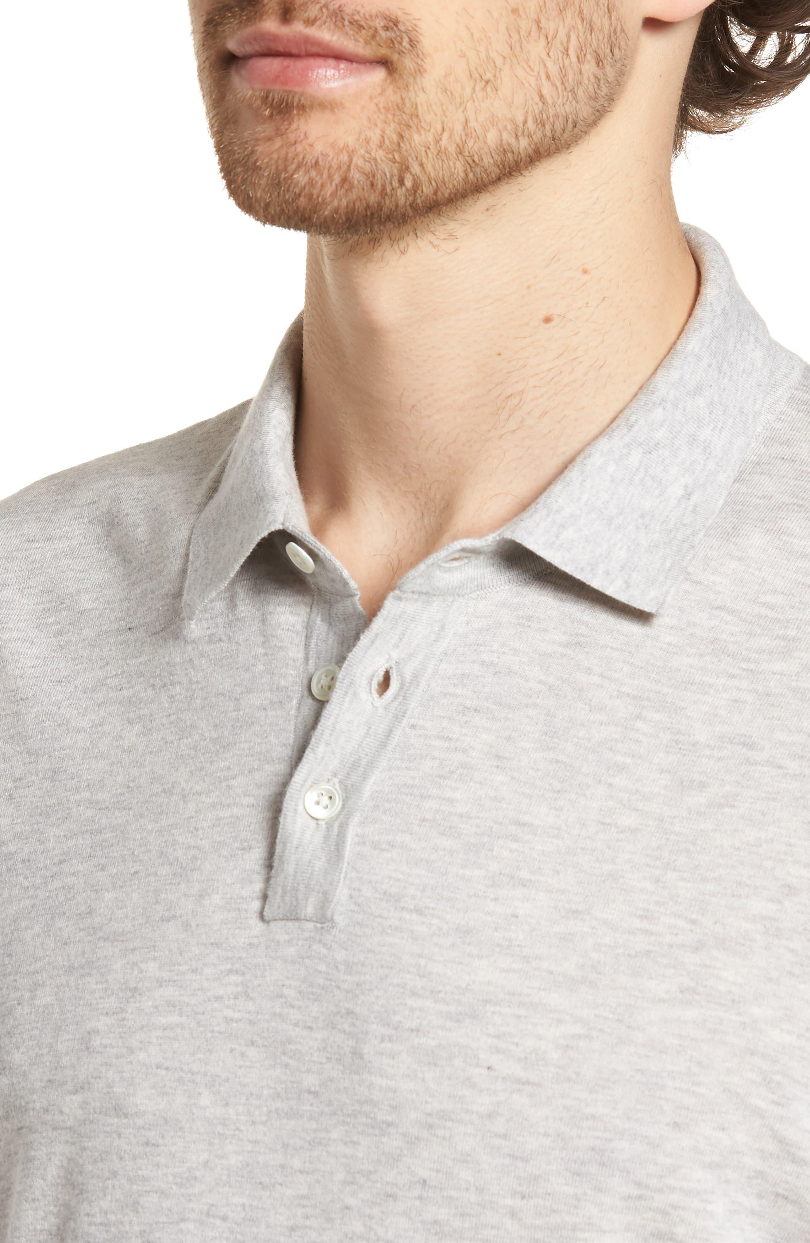 Fine Gauge Regular Fit Cotton Polo,                             Alternate thumbnail 4, color,                             Platinum
