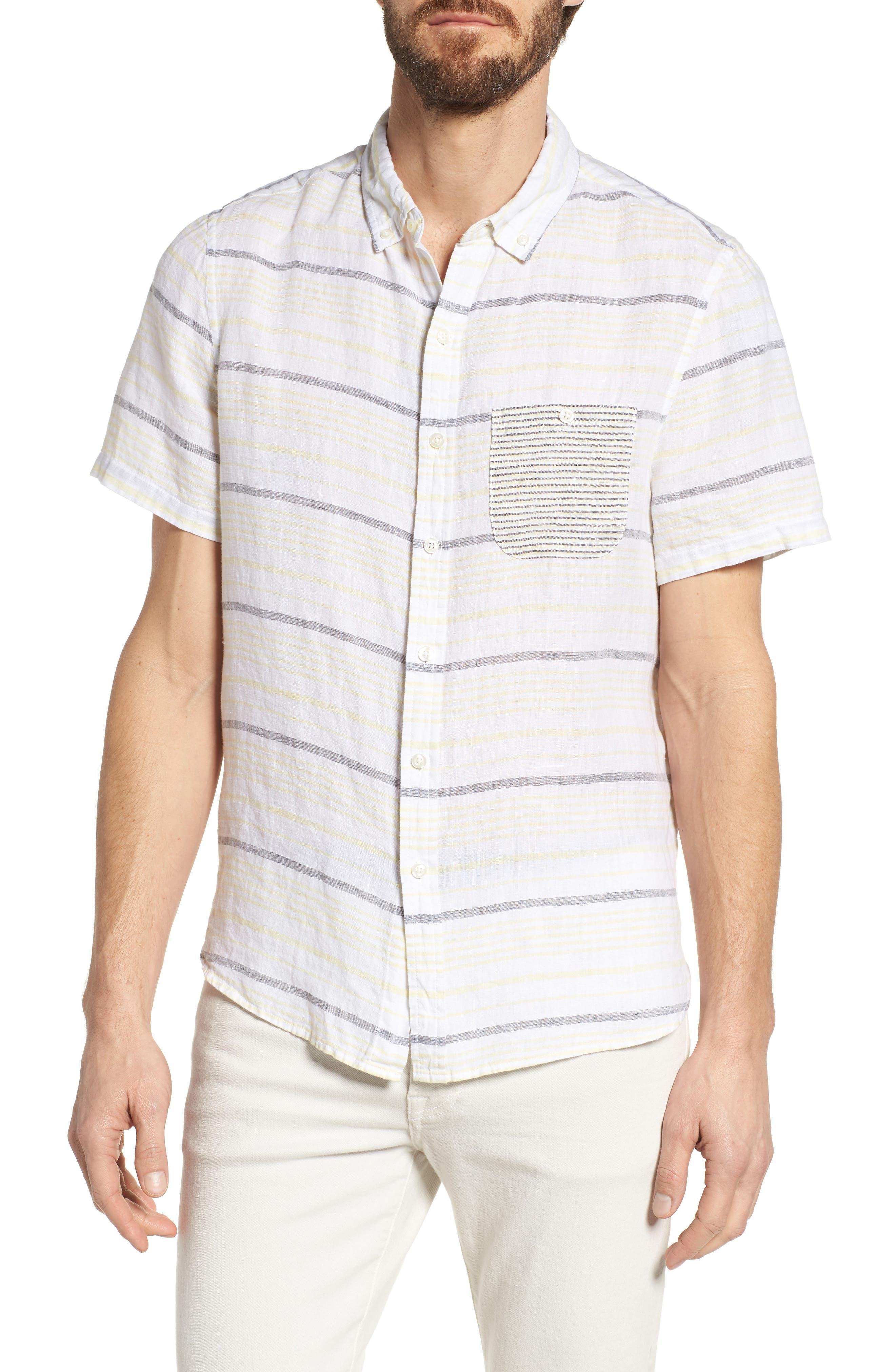 Stripe Linen Sport Shirt,                         Main,                         color, Pale Lemon