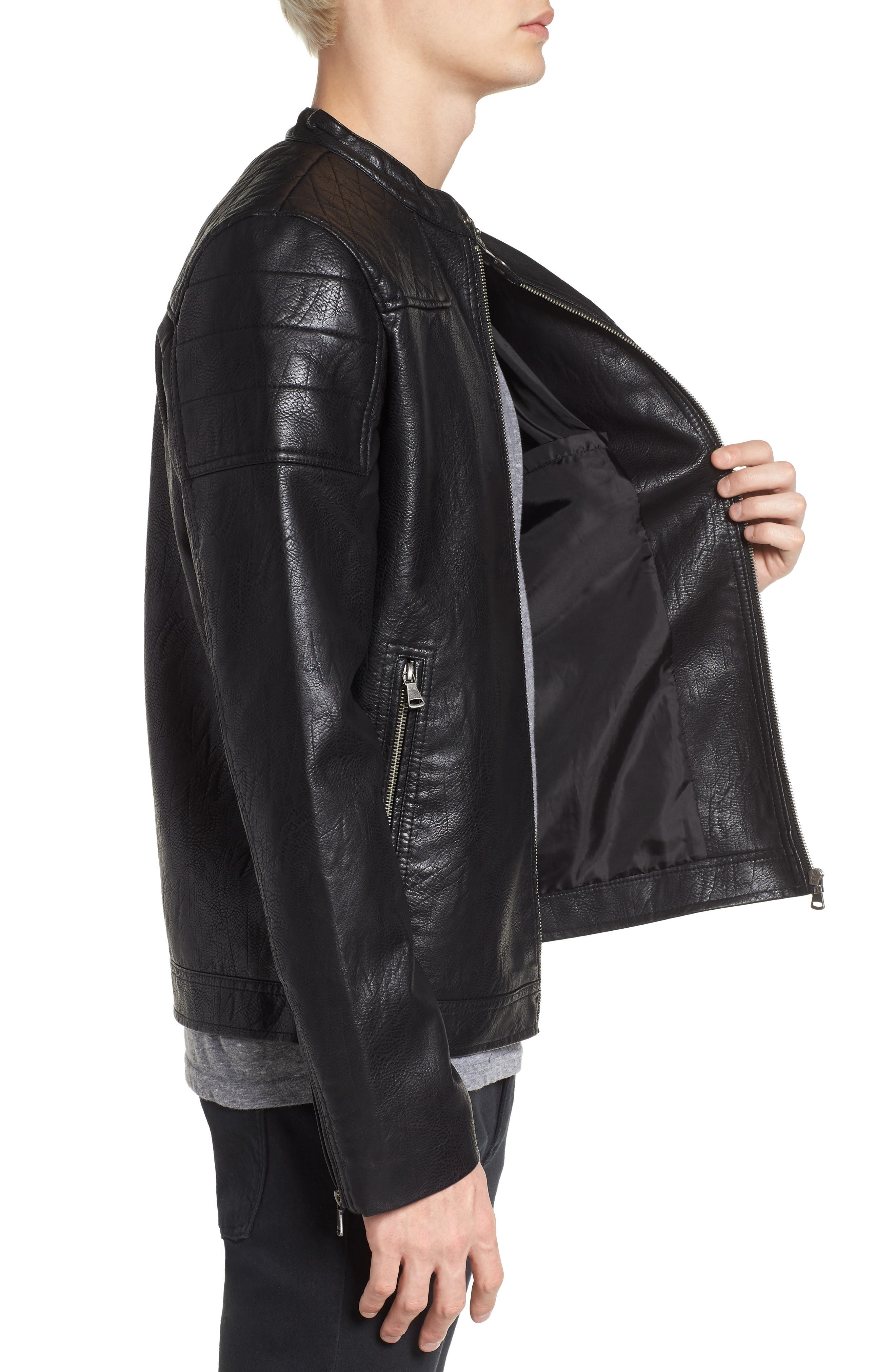 Washed Faux Leather Racer Jacket,                             Alternate thumbnail 3, color,                             Black