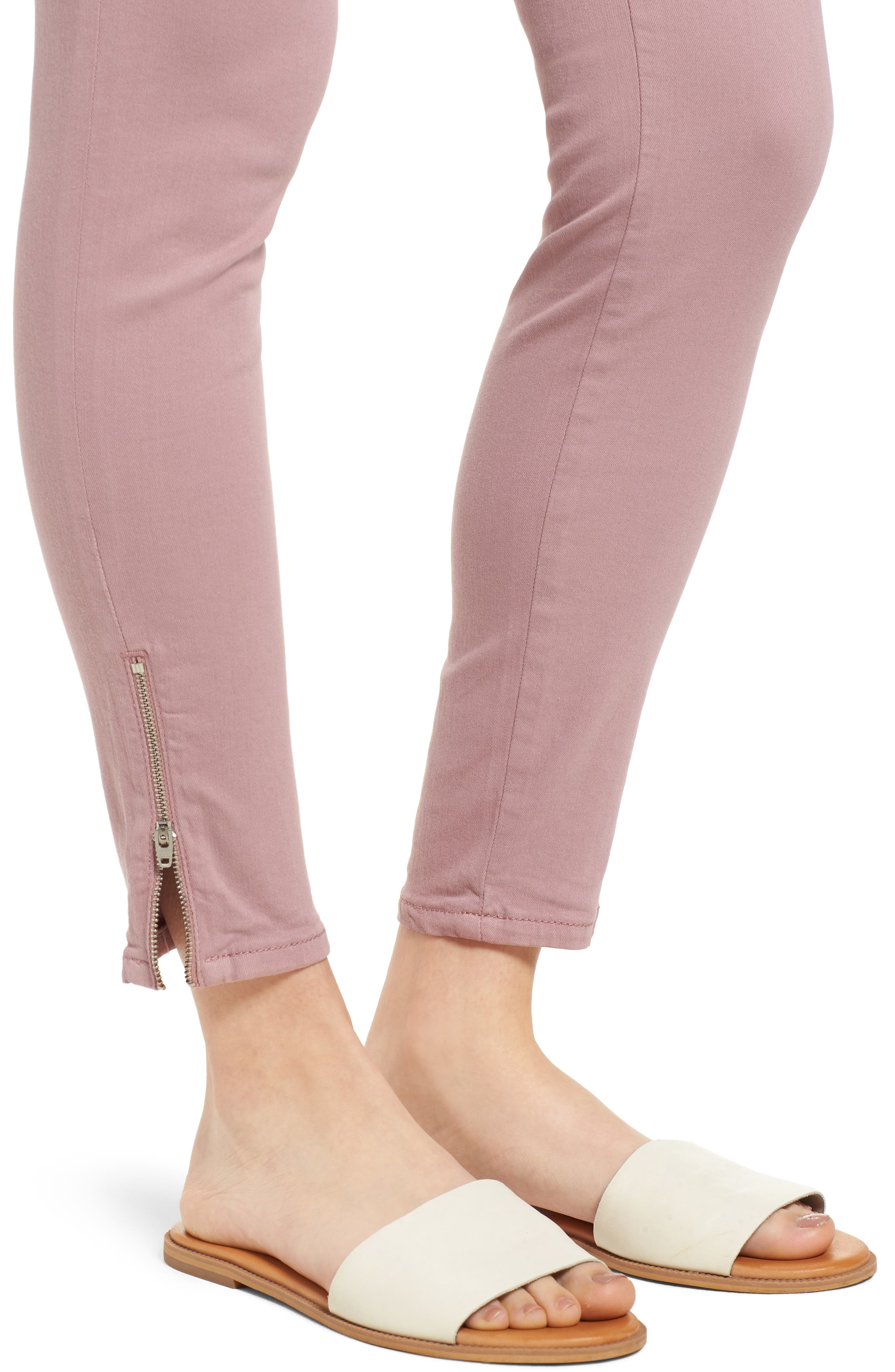 Adriana Zip Ankle Super Skinny Jeans,                             Alternate thumbnail 4, color,                             Zip Light Rose Twill