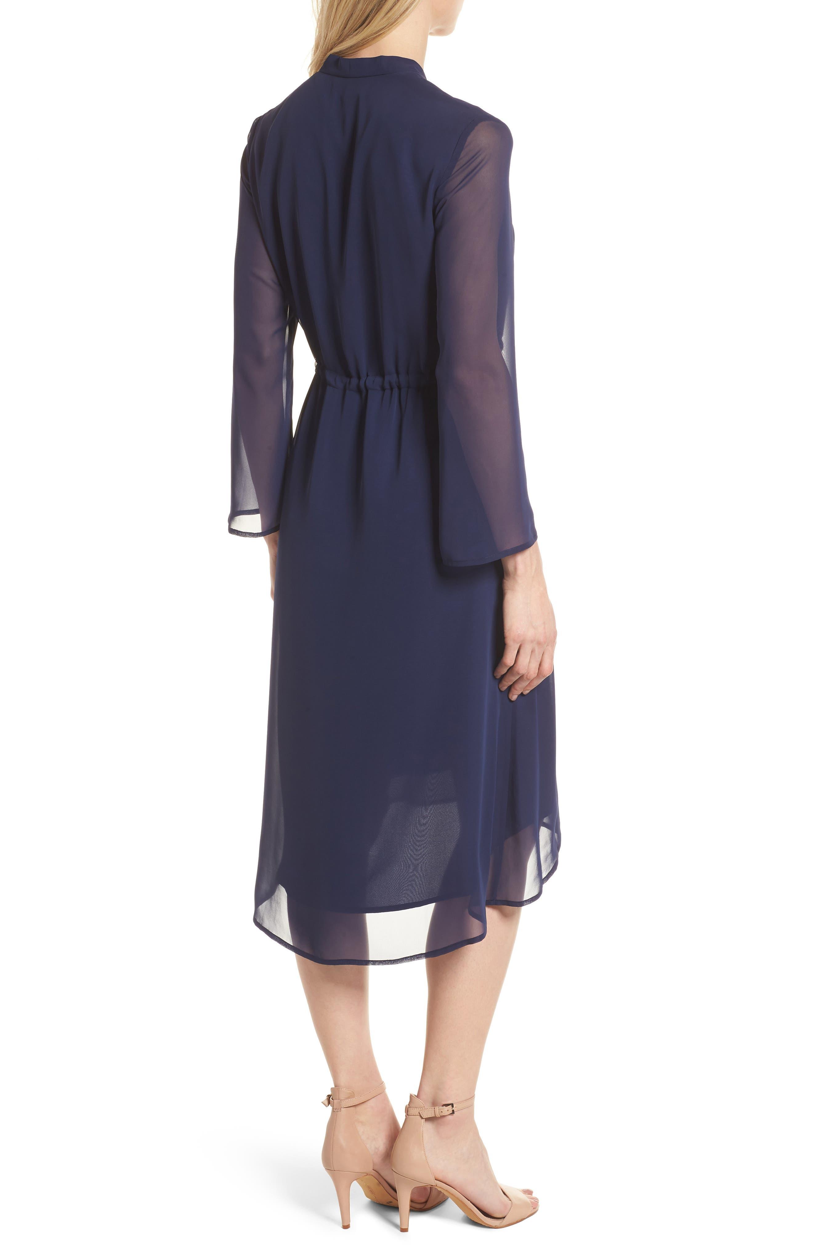 Sheer Overlay Tie Dress,                             Alternate thumbnail 2, color,                             Breton Blue