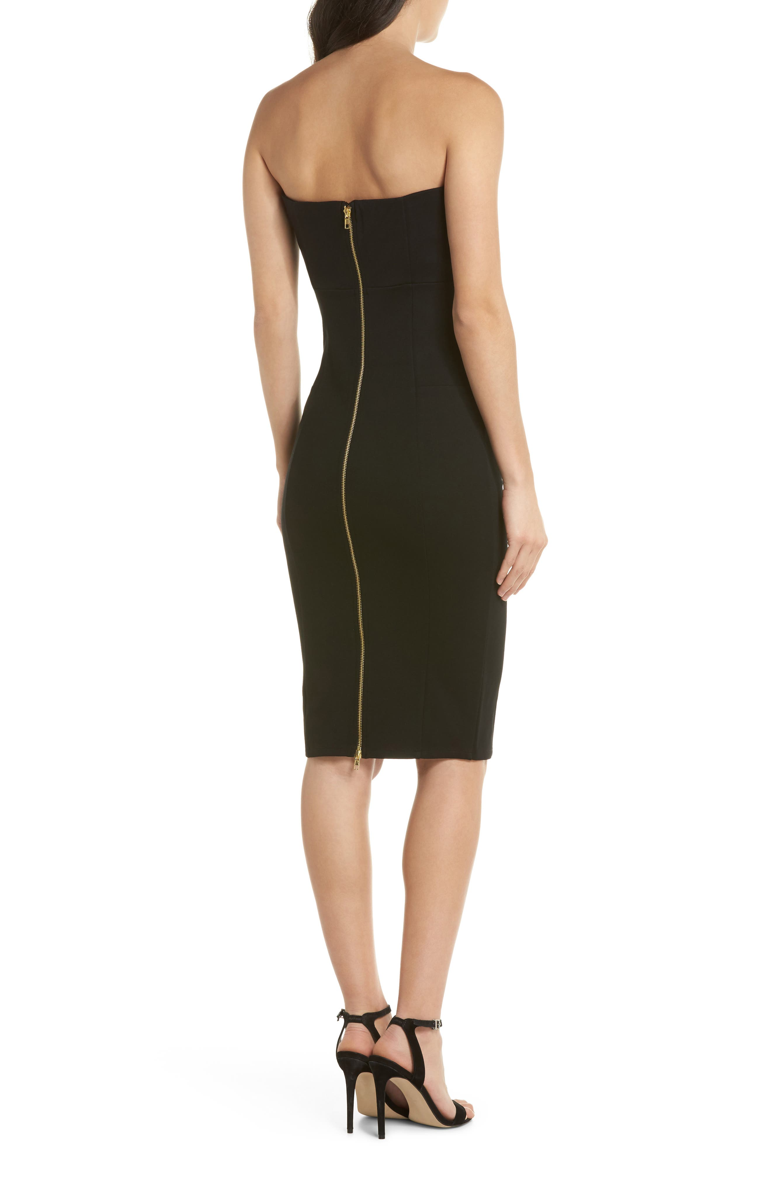 Brianna Strapless Knit Body-Con Dress,                             Alternate thumbnail 2, color,                             Black