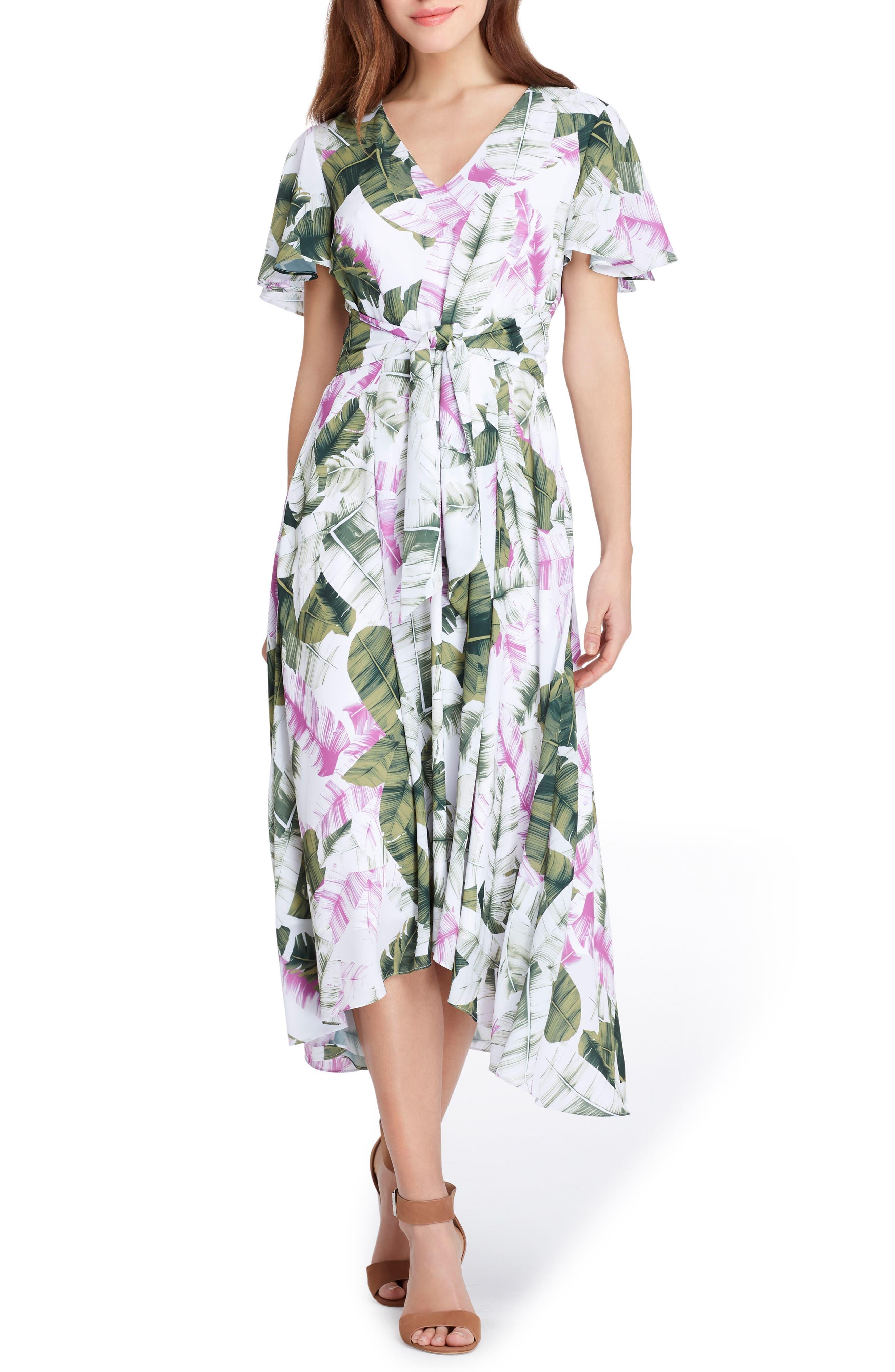 Palm Print High/Low Midi Dress,                             Main thumbnail 1, color,                             White/ Lavender/ Vine