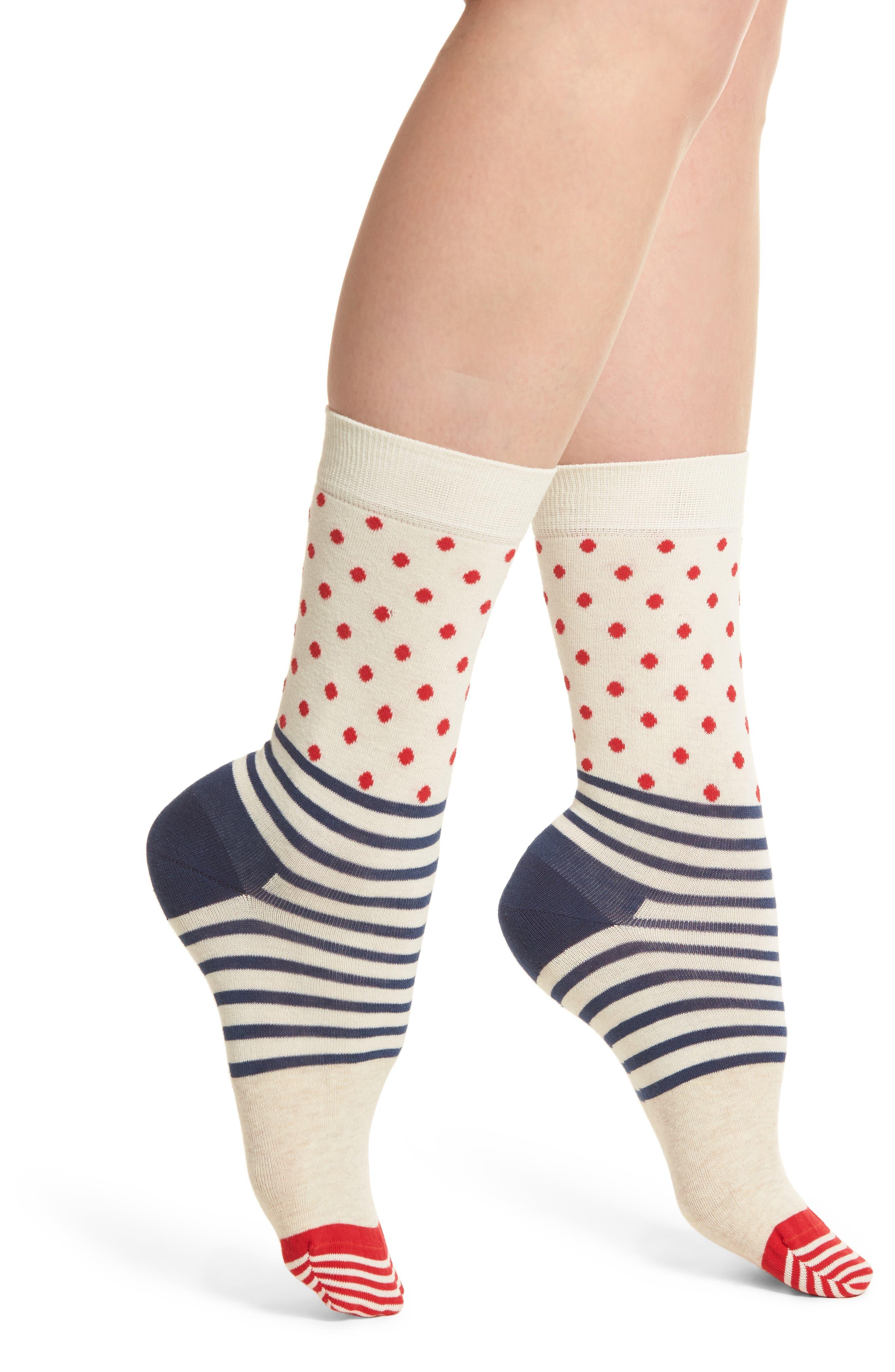 Stripes & Dots Crew Socks,                         Main,                         color, White