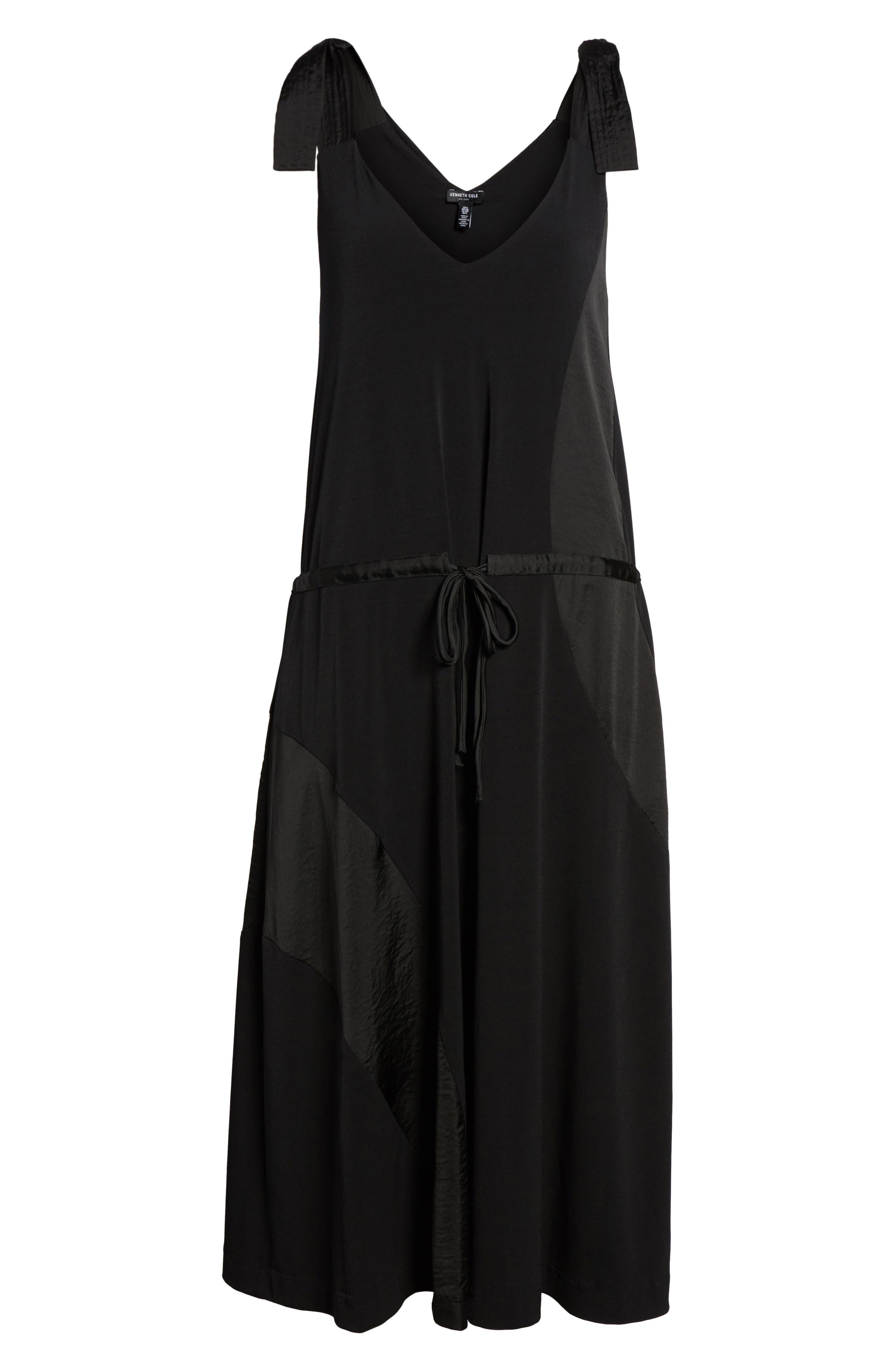 Shoulder Tie Tank Dress,                             Alternate thumbnail 6, color,                             Black
