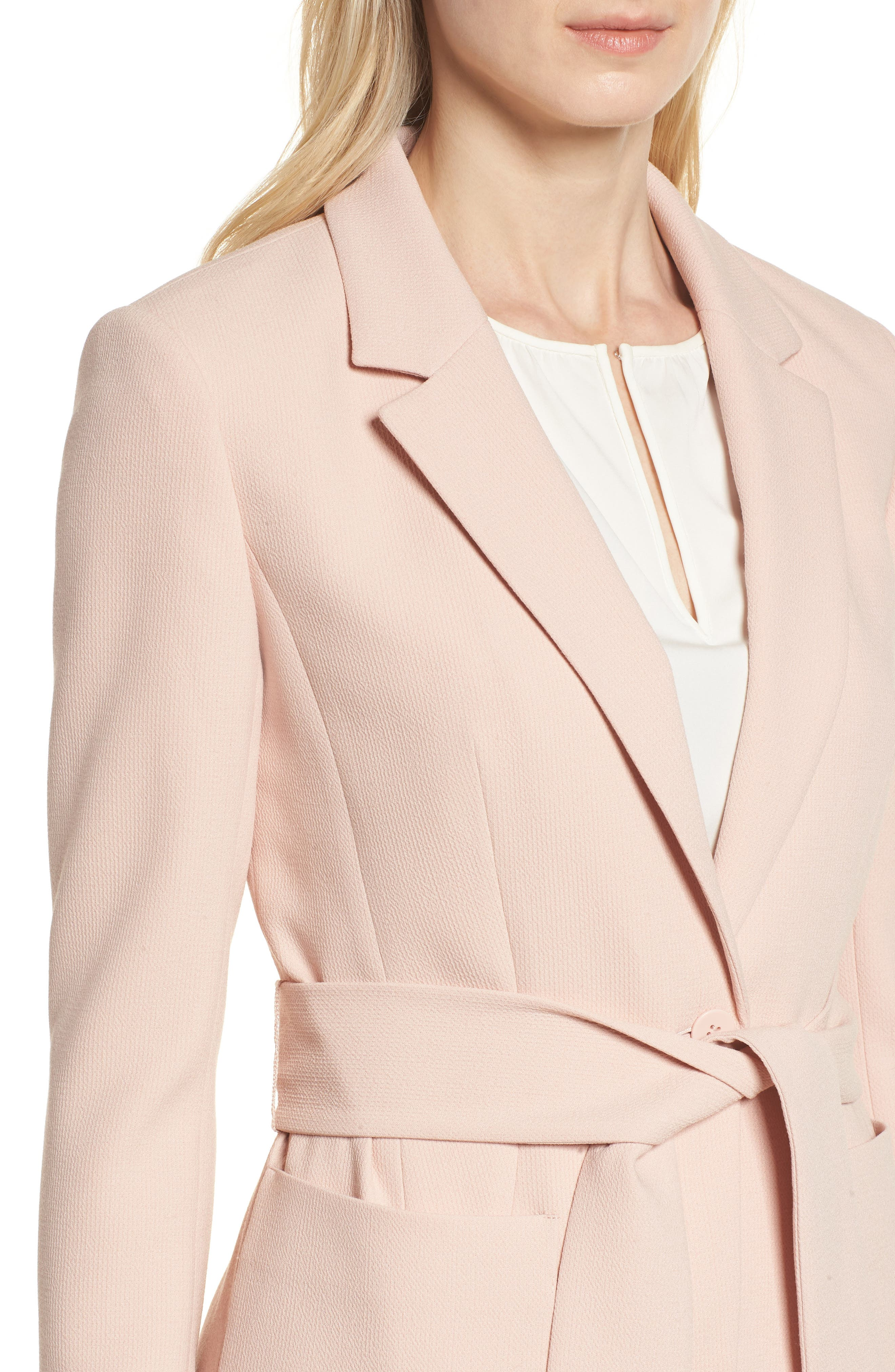 Tie Waist Suit Jacket,                             Alternate thumbnail 4, color,                             Pink Smoke