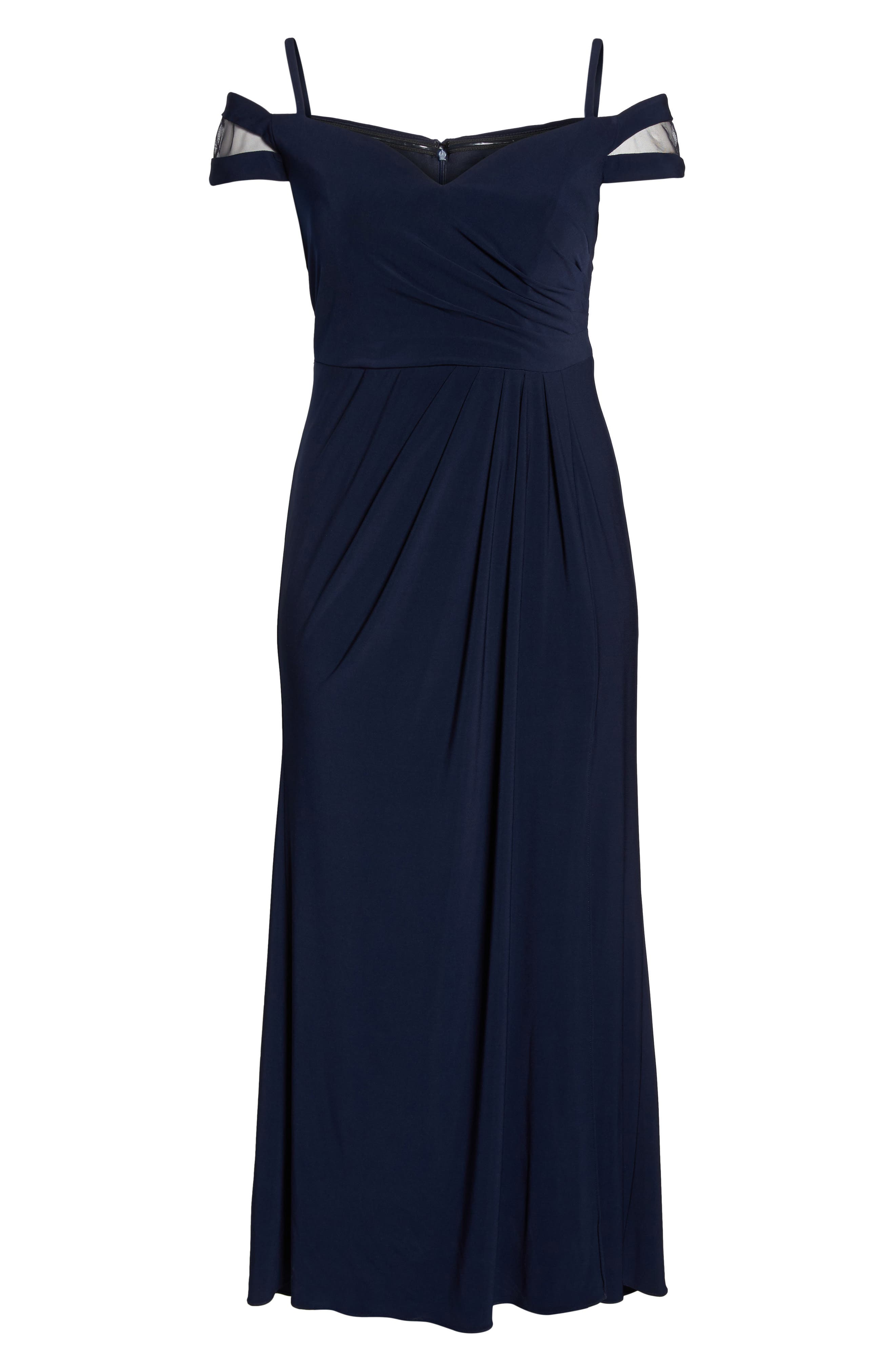 Off the Shoulder Gown,                             Alternate thumbnail 6, color,                             Navy