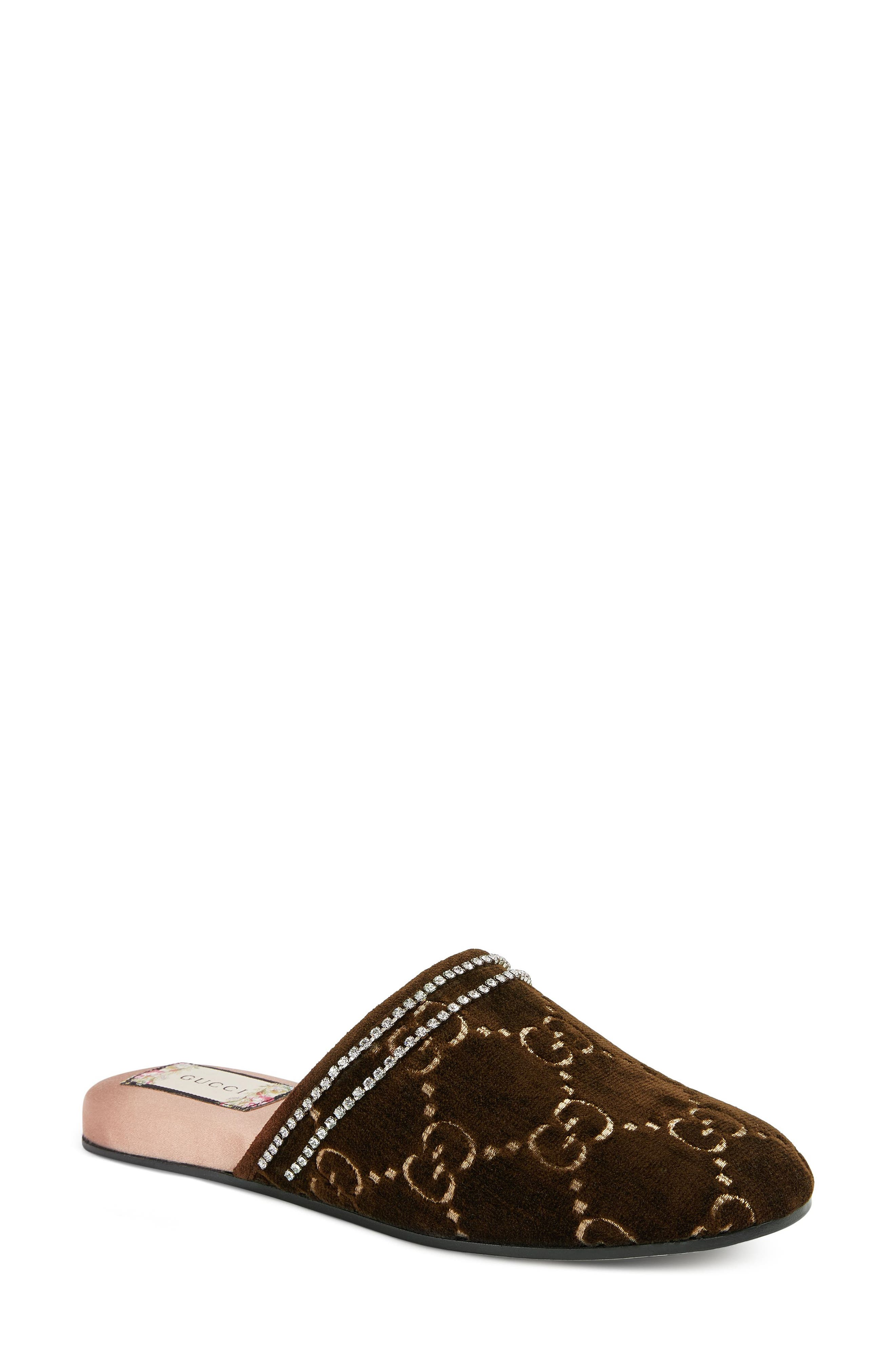 Gucci Rogue Crystal Embellished Logo Mule (Women)