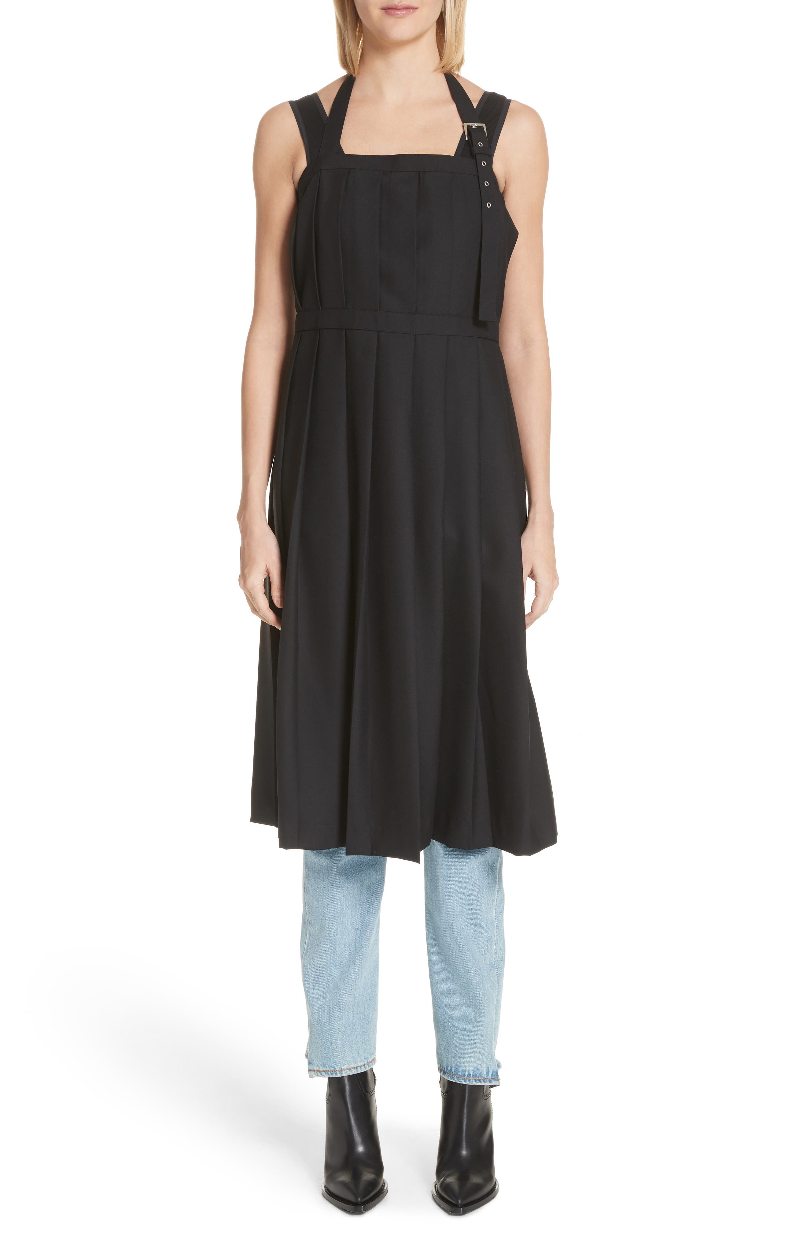 Pleated Open Back Wool Dress,                         Main,                         color, Black
