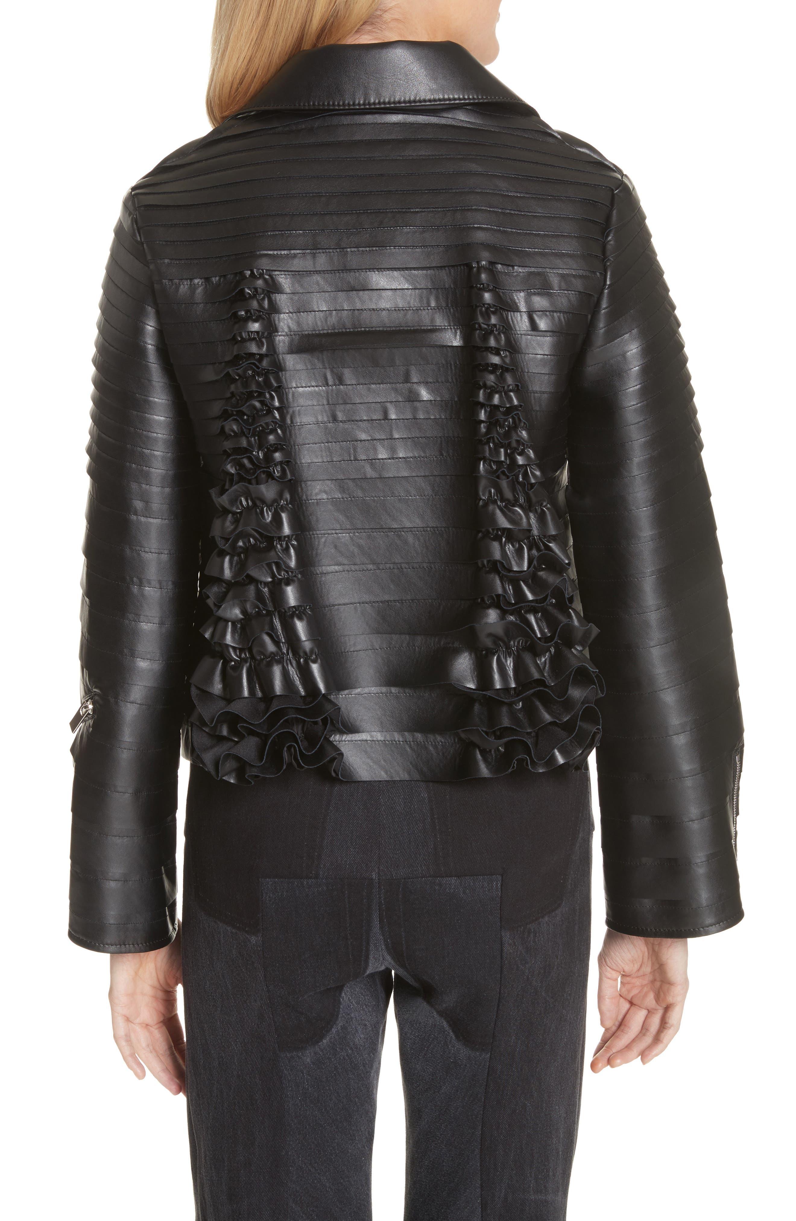 Ribbon Faux Leather Jacket,                             Alternate thumbnail 2, color,                             Black