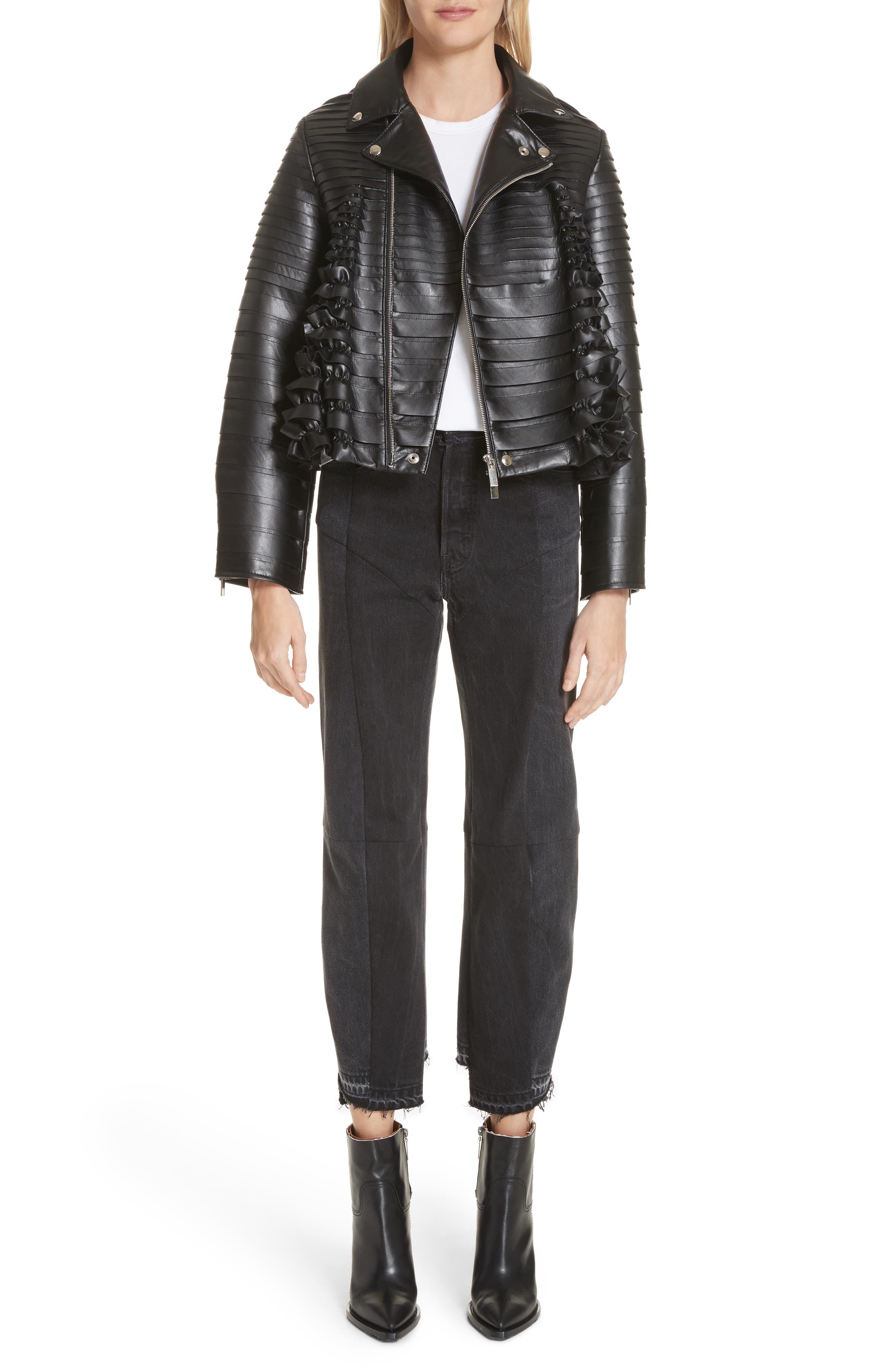 Ribbon Faux Leather Jacket,                             Alternate thumbnail 8, color,                             Black