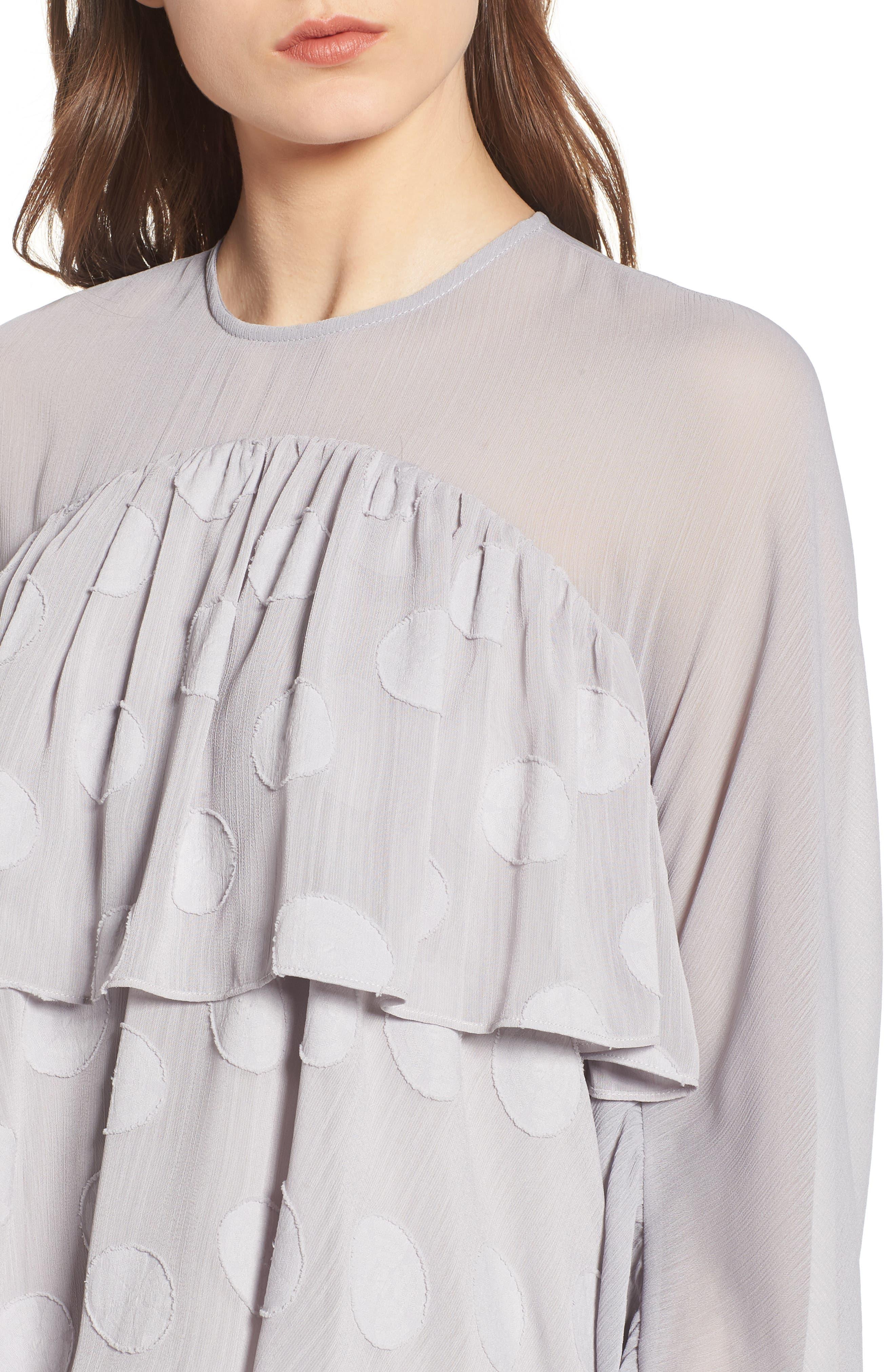 Tiered Minidress,                             Alternate thumbnail 4, color,                             Light Grey