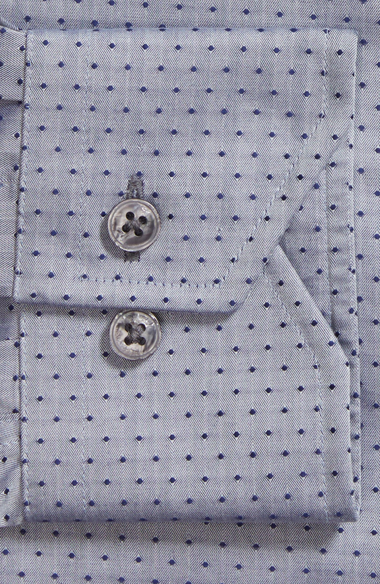 Pin Dot Dress Shirt,                             Alternate thumbnail 5, color,                             Navy/ Grey