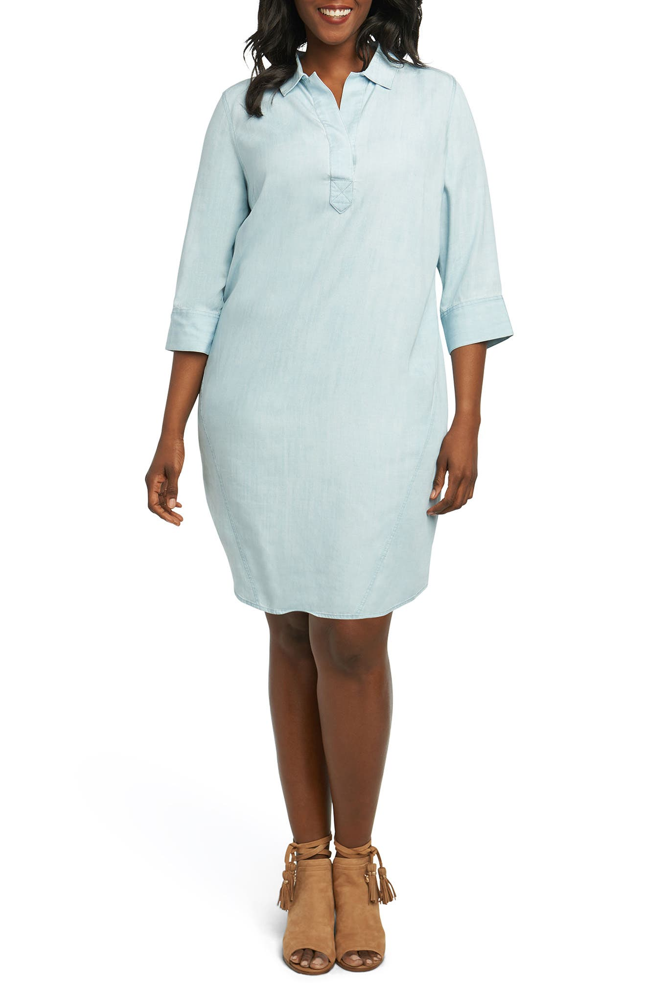 Alternate Image 1 Selected - Foxcroft Nicolette Chambray Shift Dress (Plus Size)