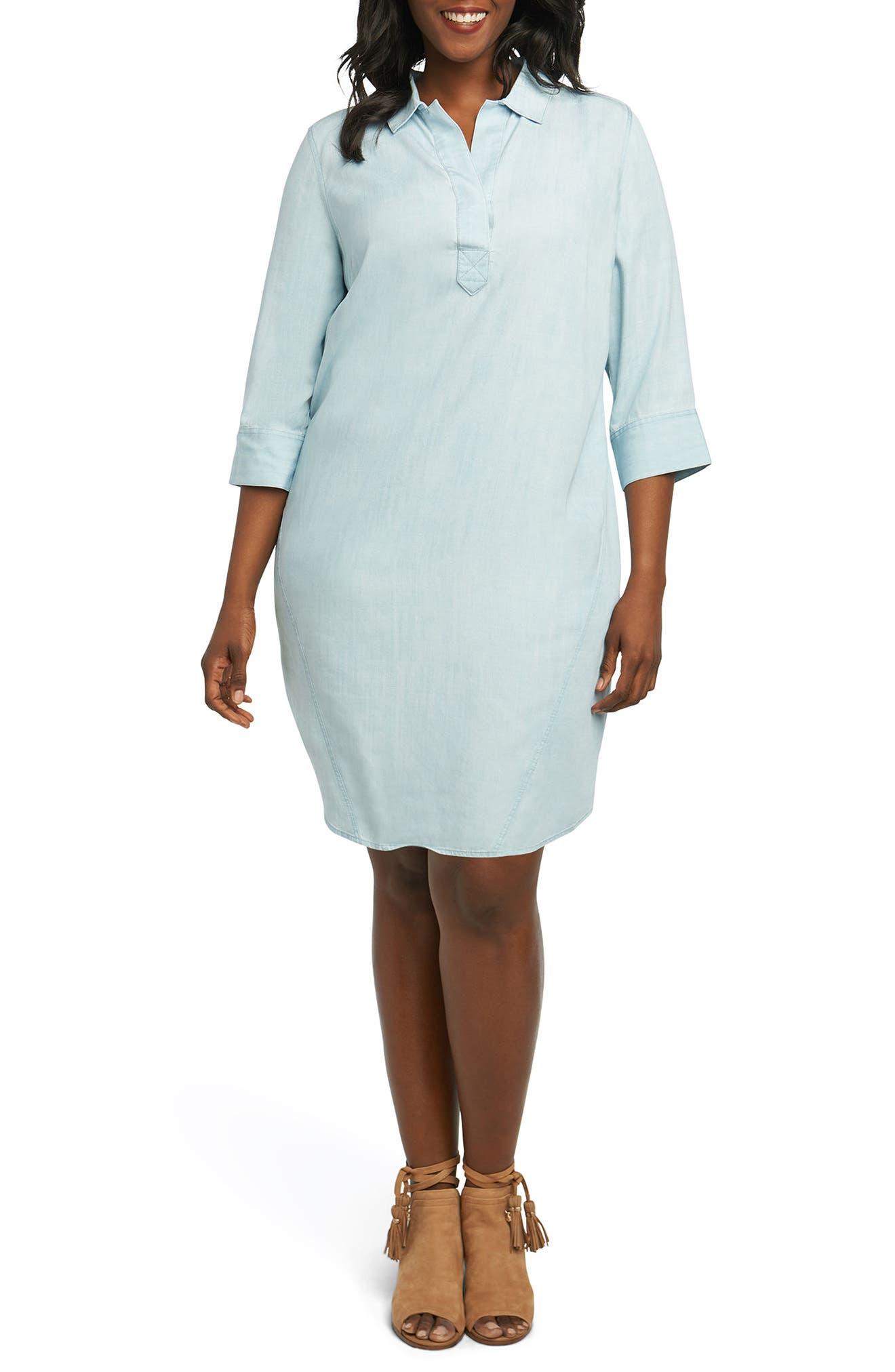 Nicolette Chambray Shift Dress,                         Main,                         color, Blue Wash