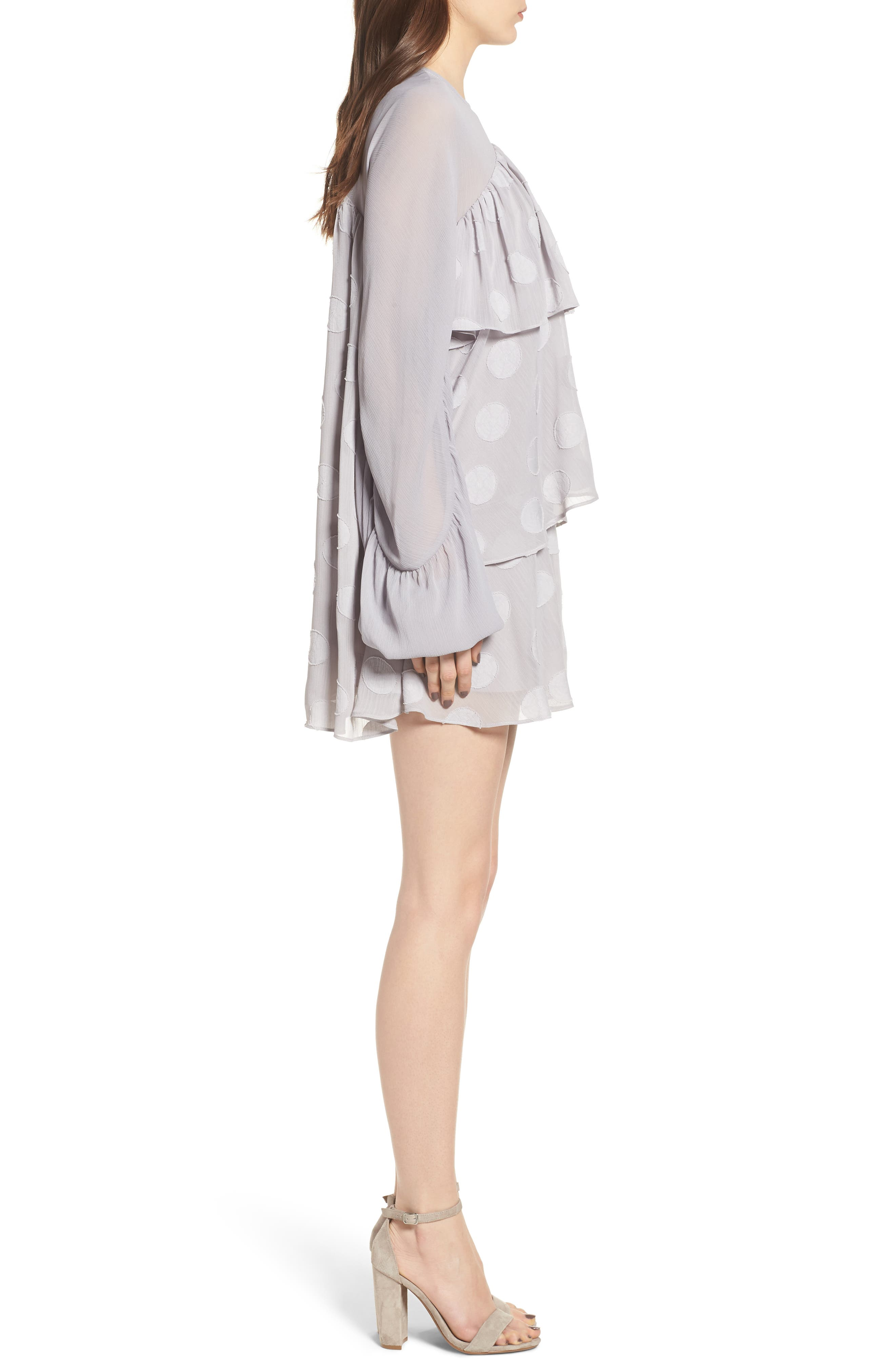 Tiered Minidress,                             Alternate thumbnail 3, color,                             Light Grey