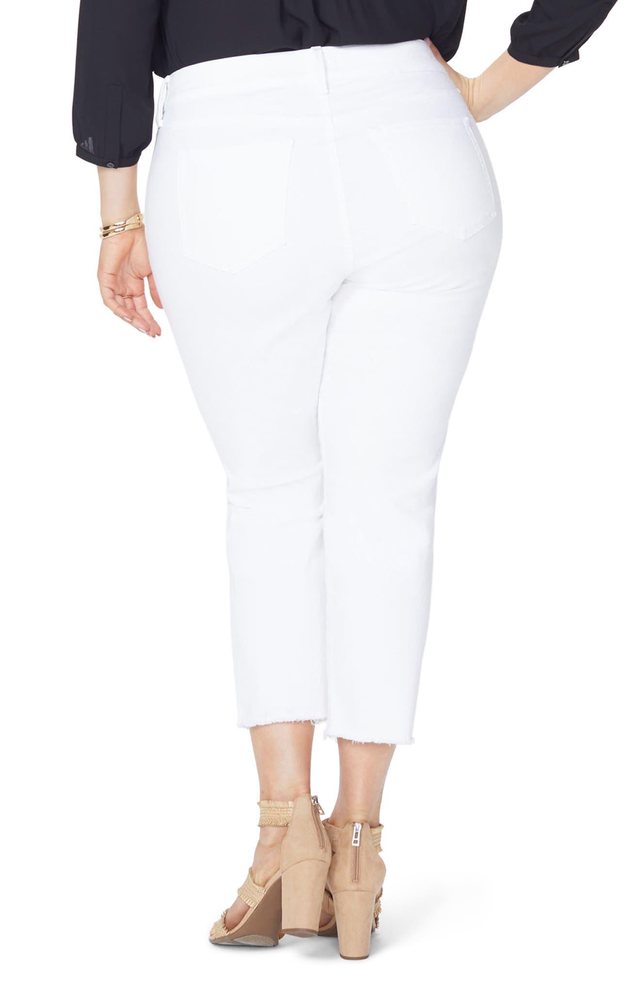 Sheri Fray Hem Stretch Slim Ankle Jeans,                             Alternate thumbnail 2, color,                             Optic White